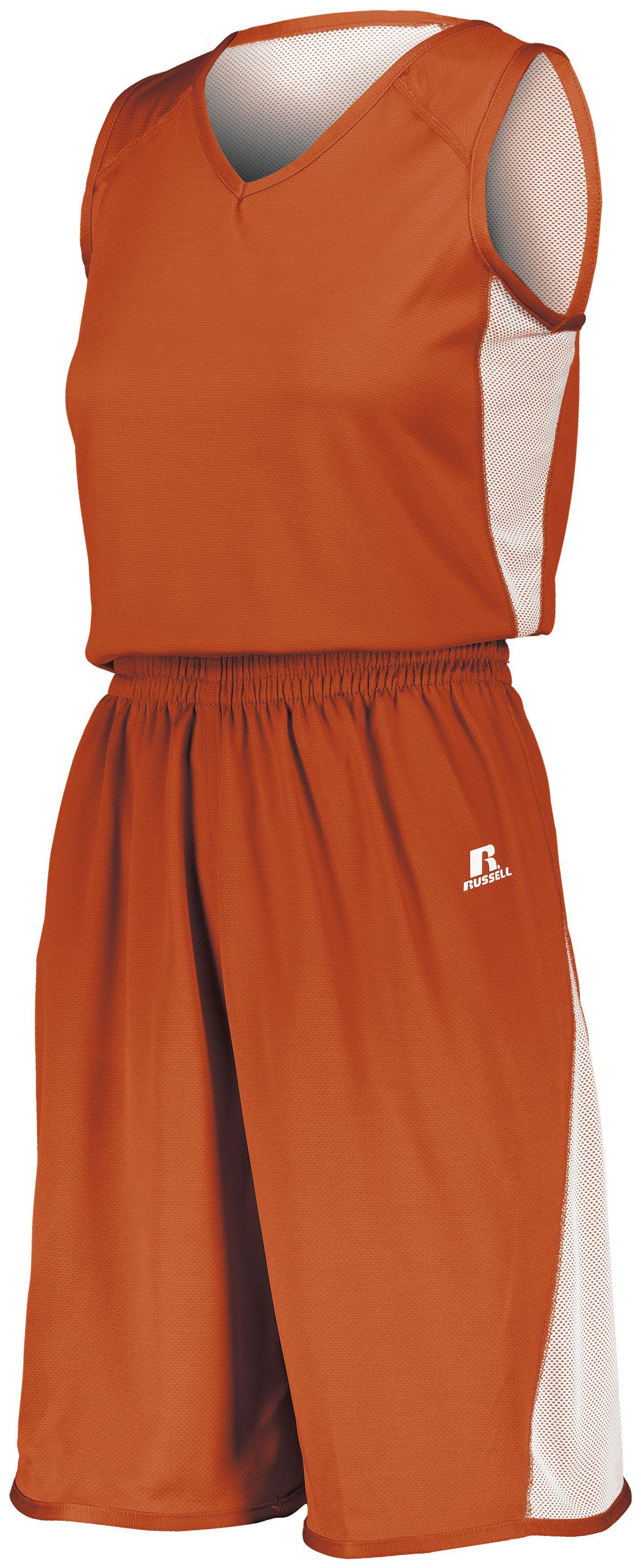 Ladies Undivided Single Ply Reversible Shorts - BURNT ORANGE/WHITE