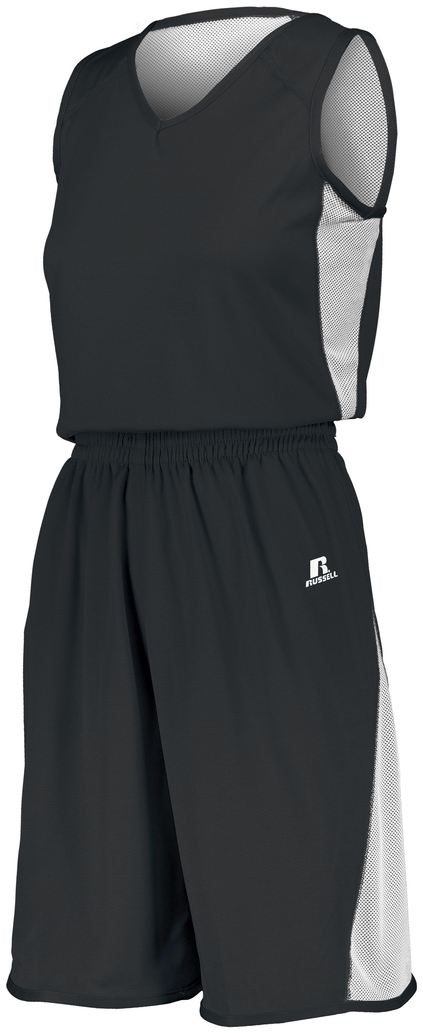 Ladies Undivided Single Ply Reversible Shorts - BLACK/WHITE