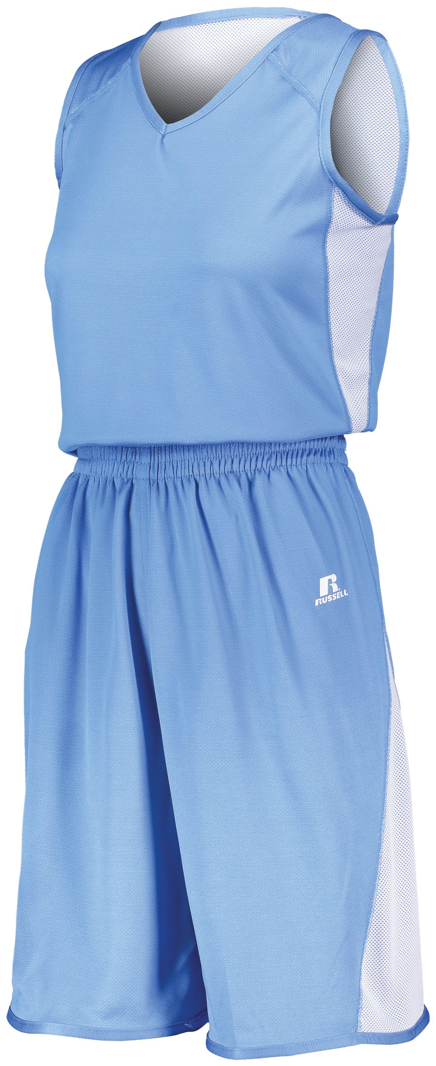 Ladies Undivided Single Ply Reversible Shorts - COLUMBIA BLUE/WHITE