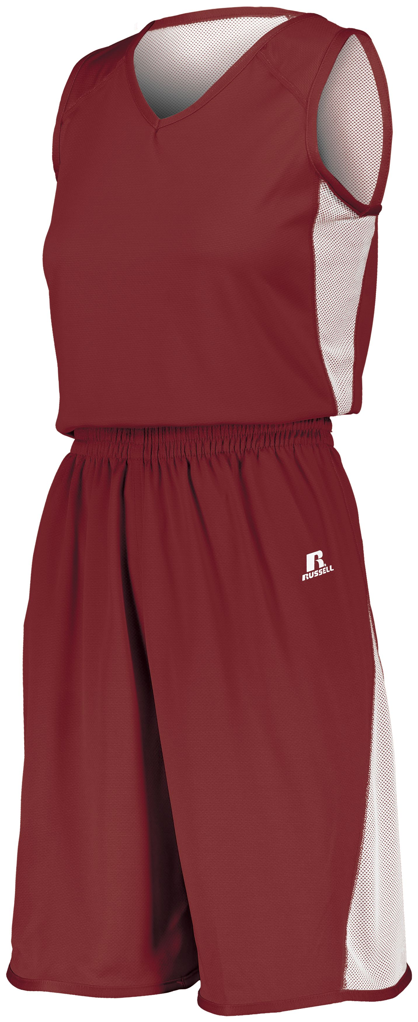 Ladies Undivided Single Ply Reversible Shorts - CARDINAL/WHITE