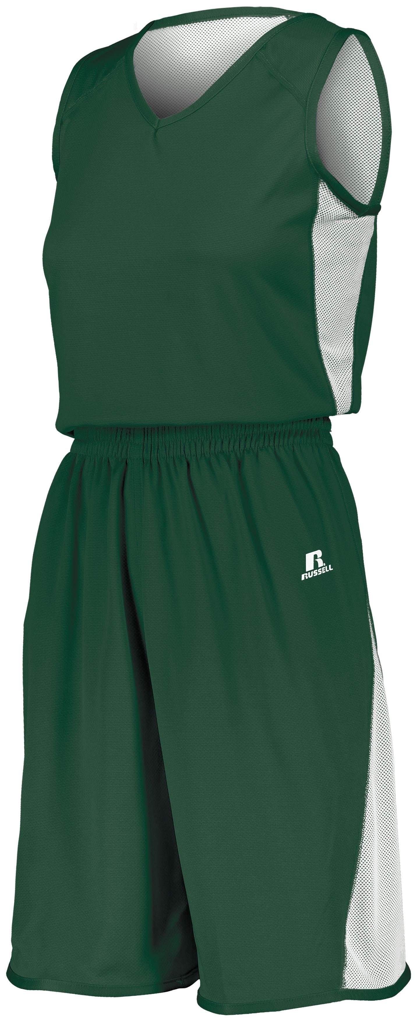 Ladies Undivided Single Ply Reversible Shorts - DARK GREEN/WHITE