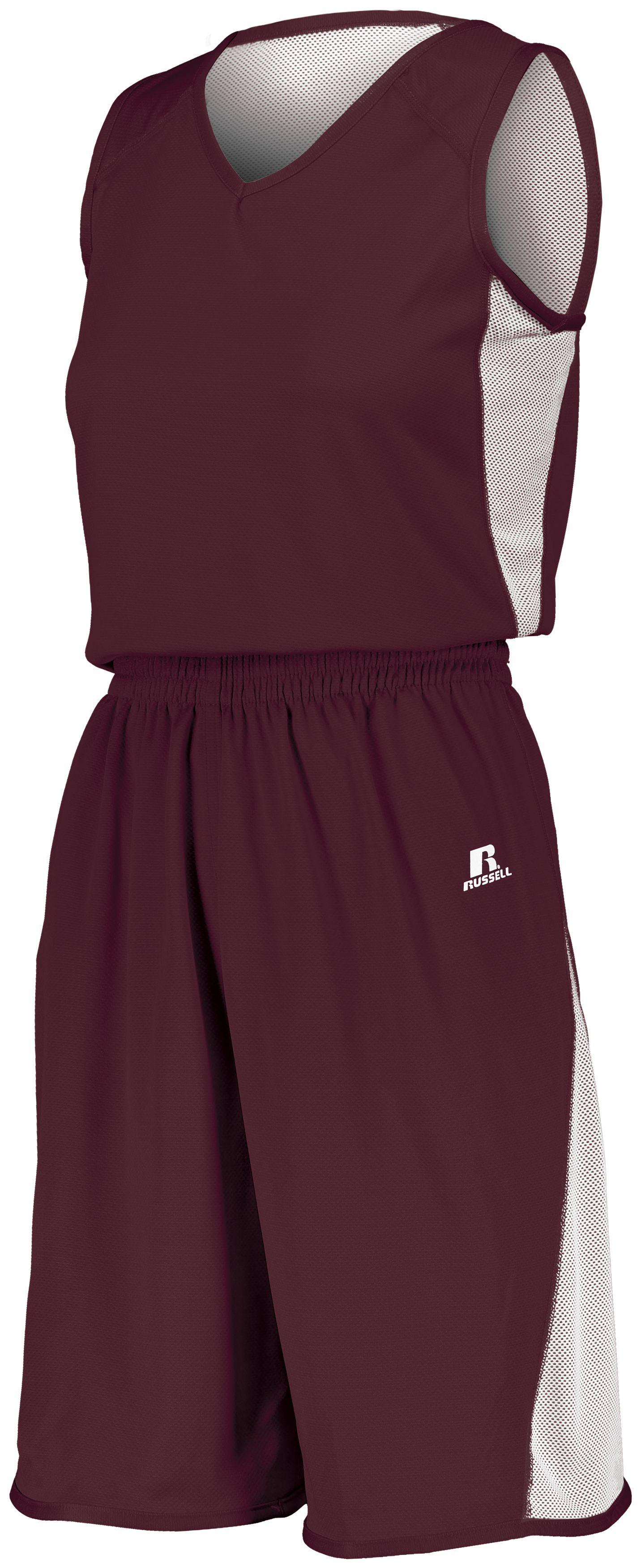 Ladies Undivided Single Ply Reversible Shorts - MAROON/WHITE