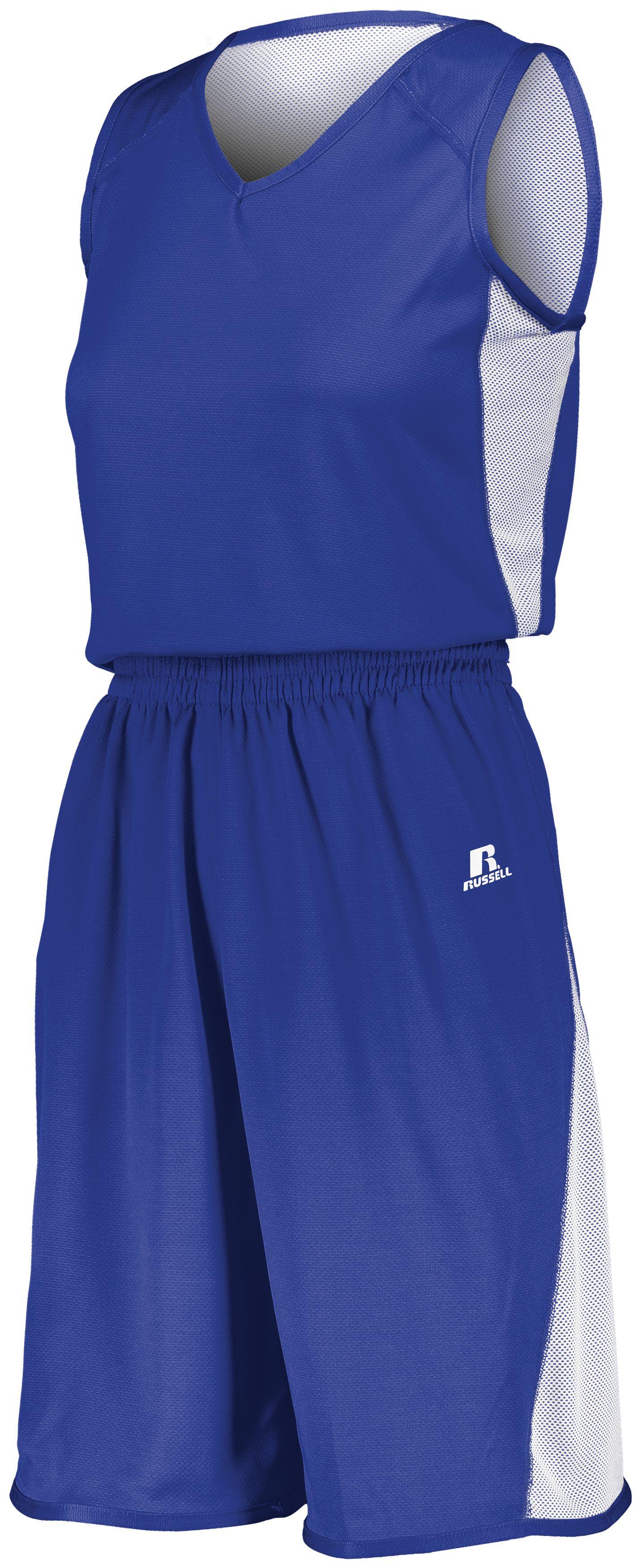 Ladies Undivided Single Ply Reversible Shorts - ROYAL/WHITE