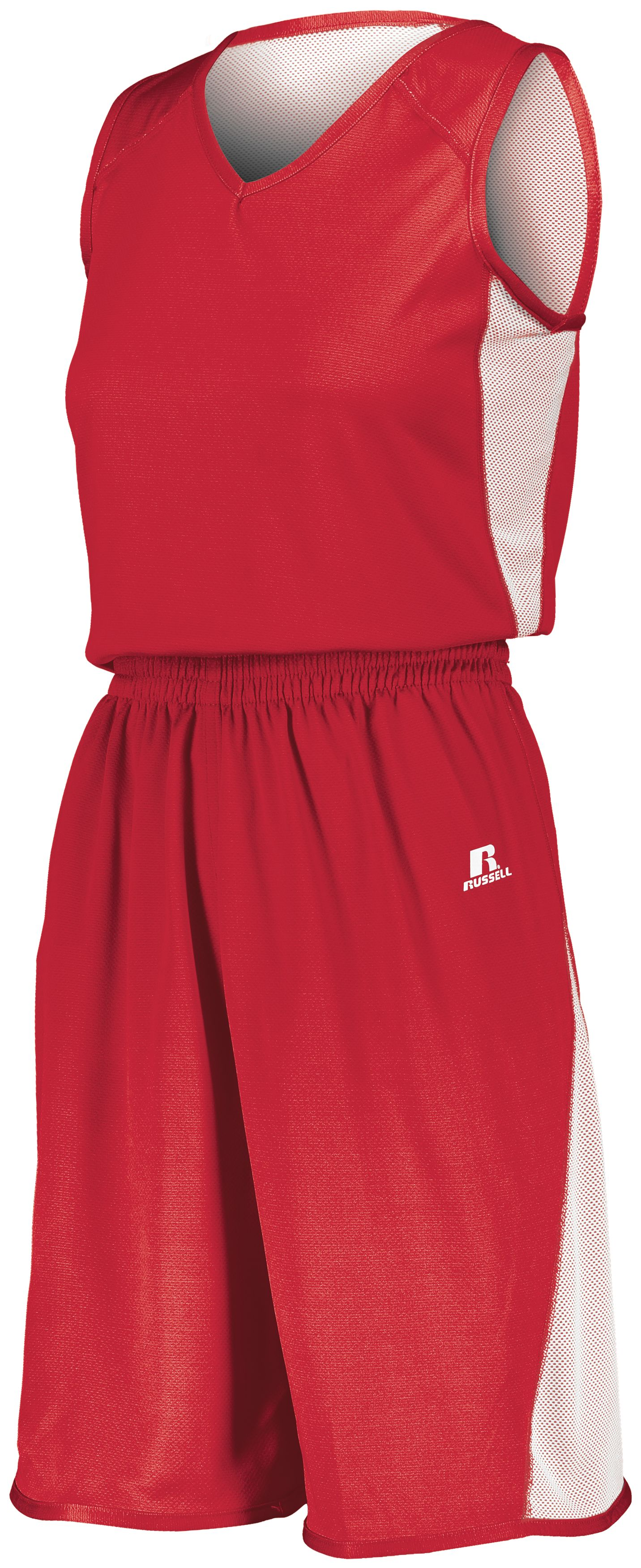 Ladies Undivided Single Ply Reversible Shorts - TRUE RED/WHITE