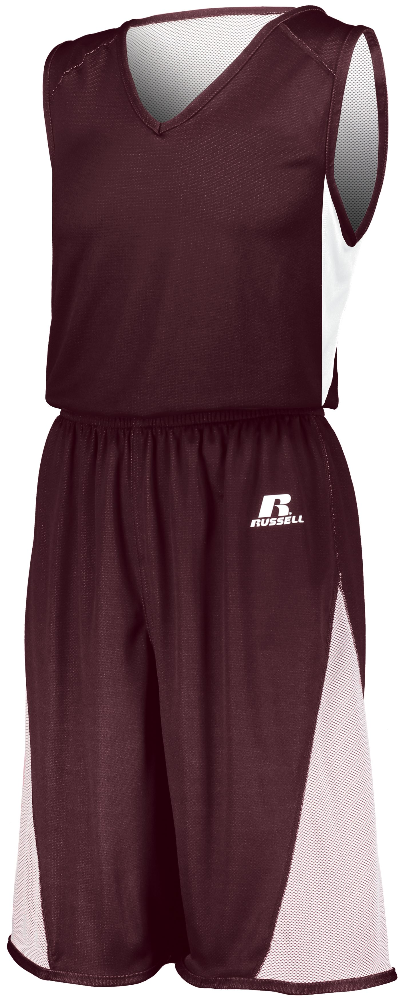 Undivided Single Ply Reversible Shorts - MAROON/WHITE