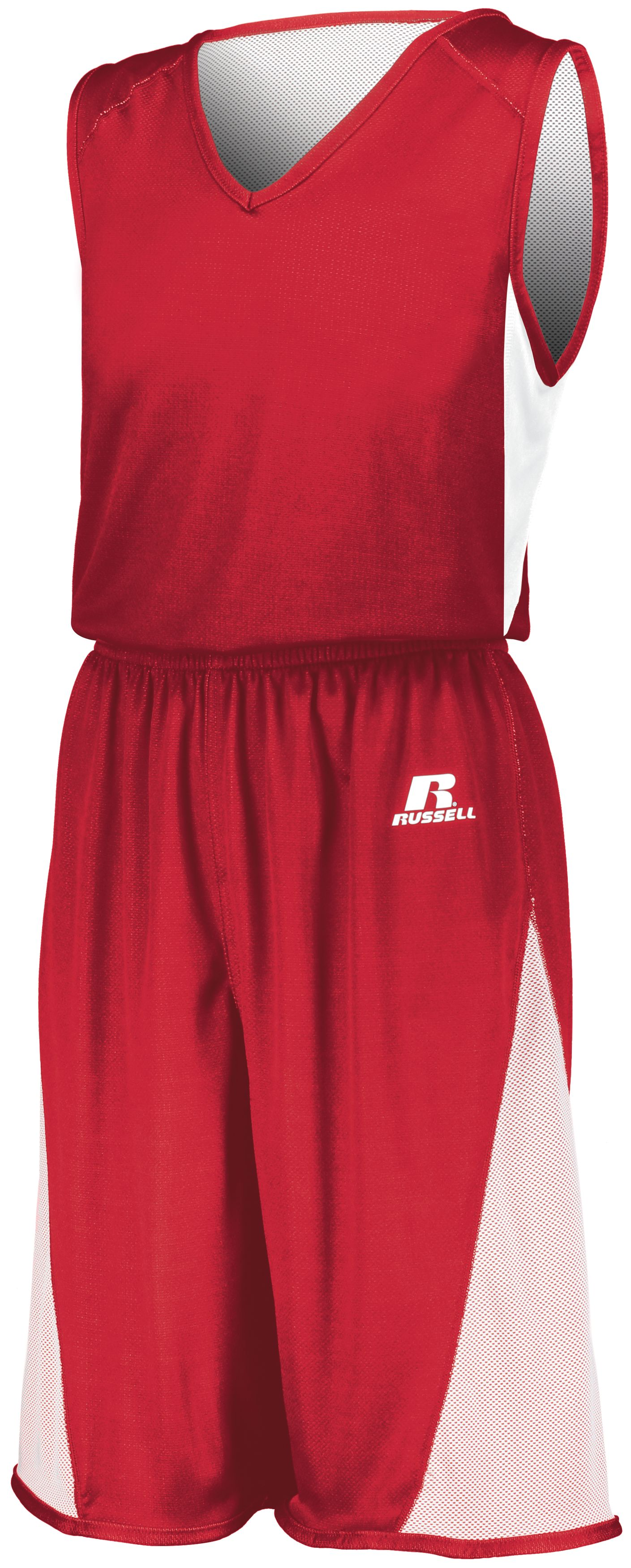 Undivided Single Ply Reversible Jersey - TRUE RED/WHITE