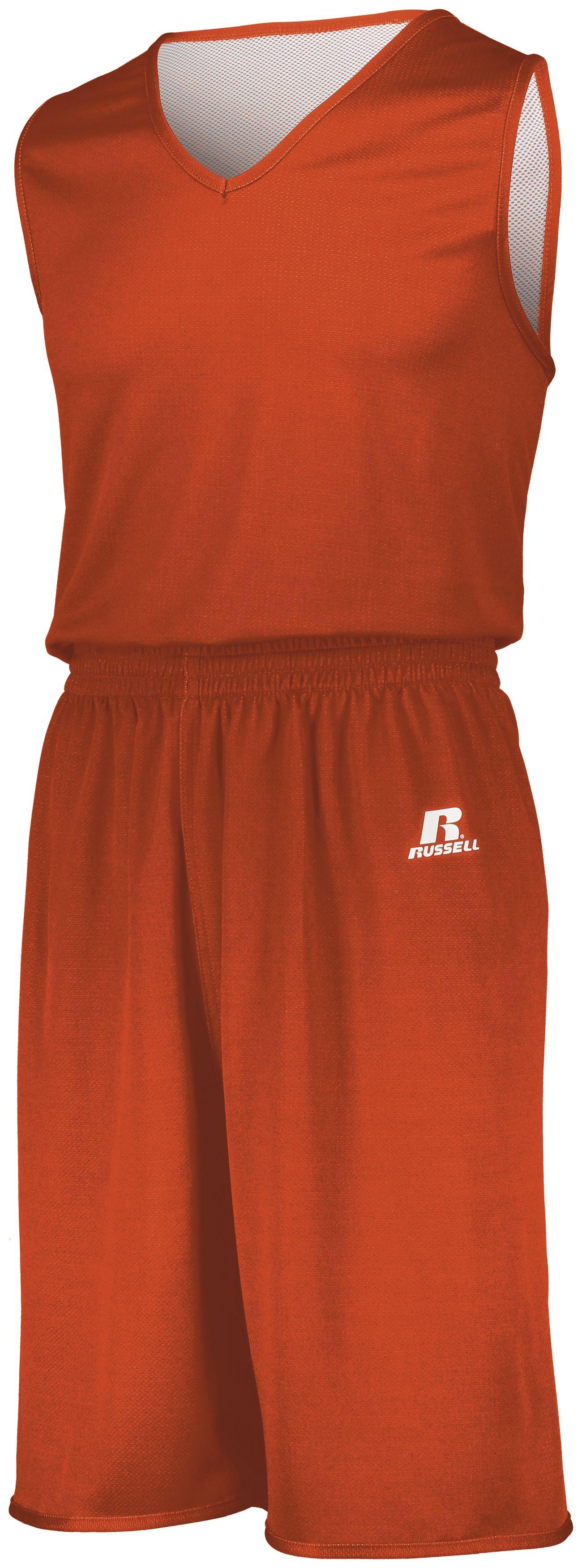 Youth Undivided Solid Single Ply Reversible Shorts - BURNT ORANGE/WHITE