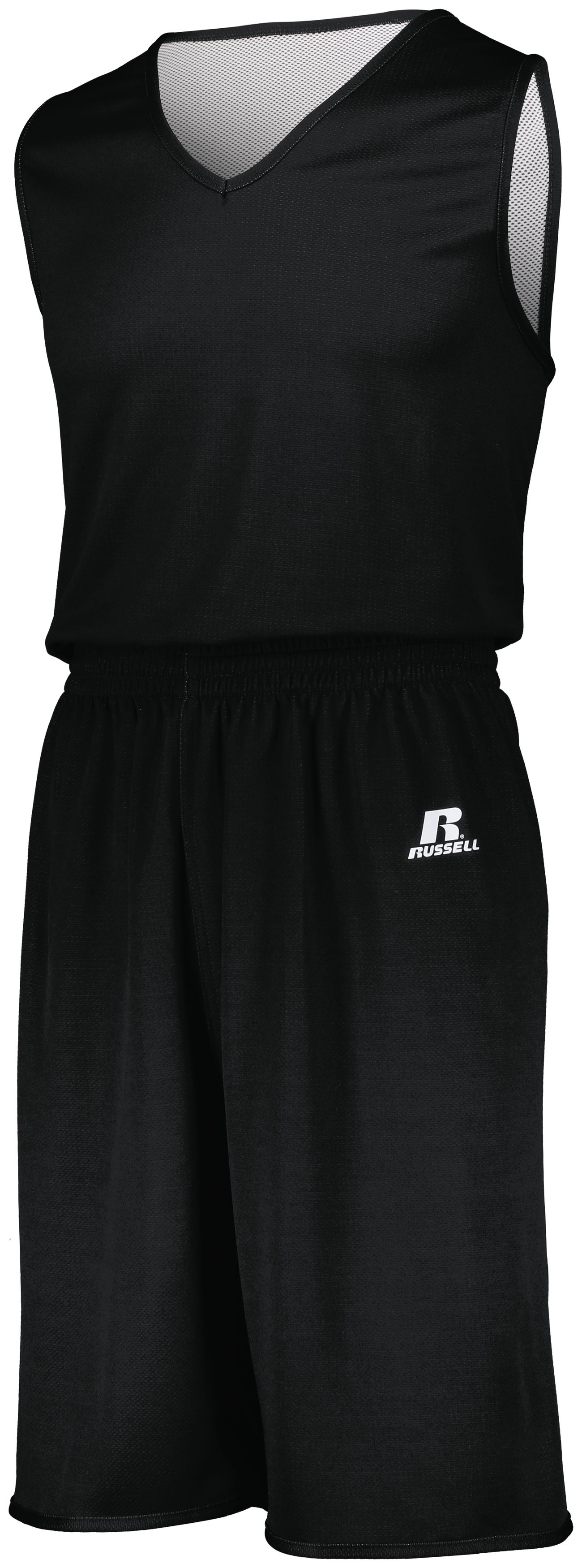 Youth Undivided Solid Single Ply Reversible Shorts - BLACK/WHITE