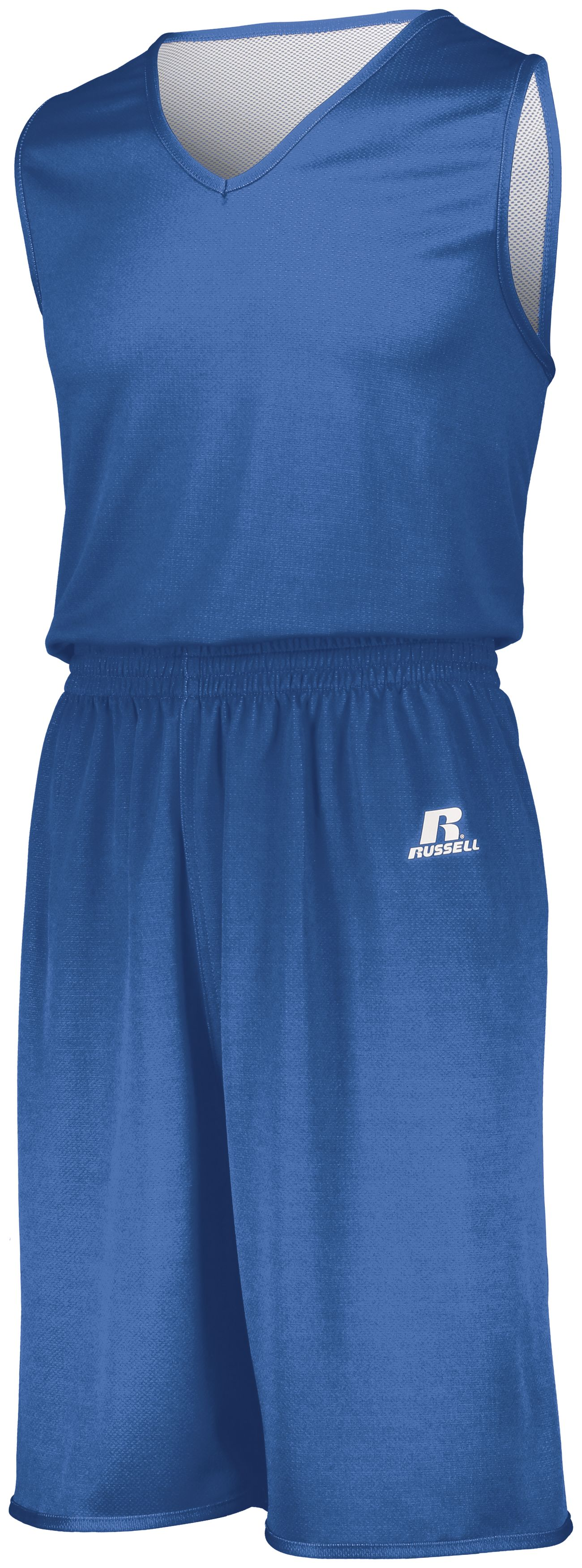 Youth Undivided Solid Single Ply Reversible Shorts - COLUMBIA BLUE/WHITE