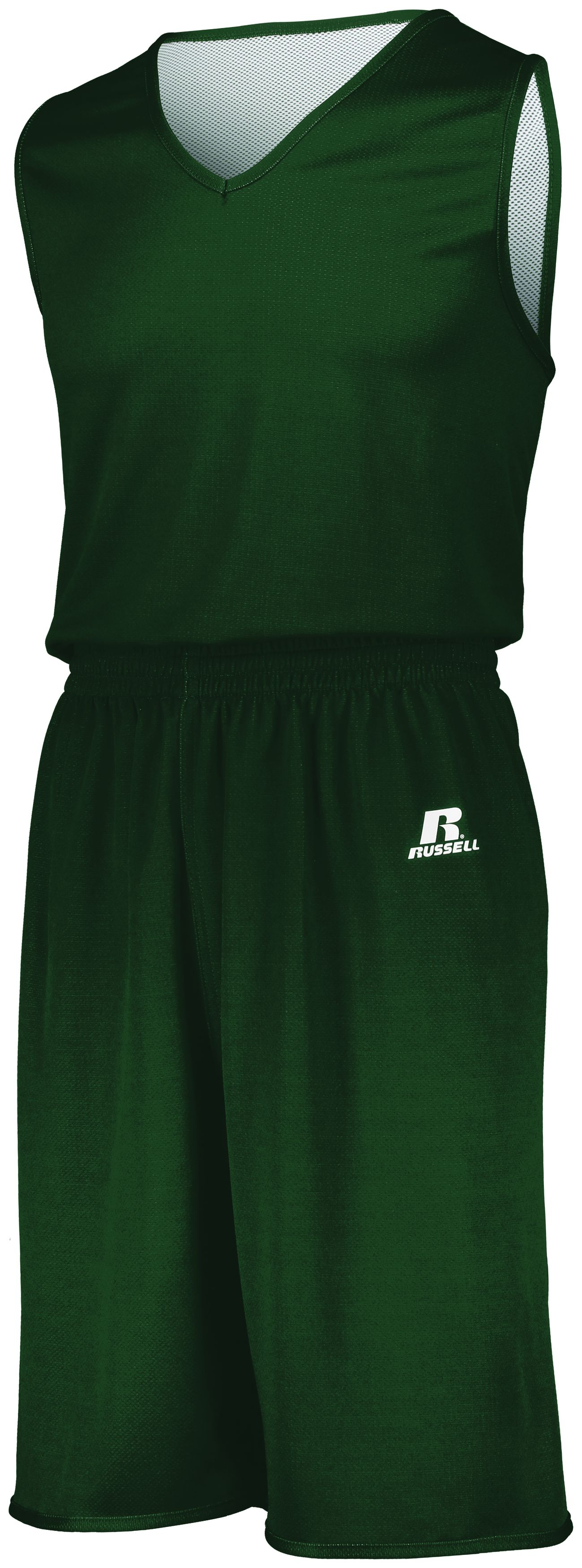 Youth Undivided Solid Single Ply Reversible Shorts - DARK GREEN/WHITE
