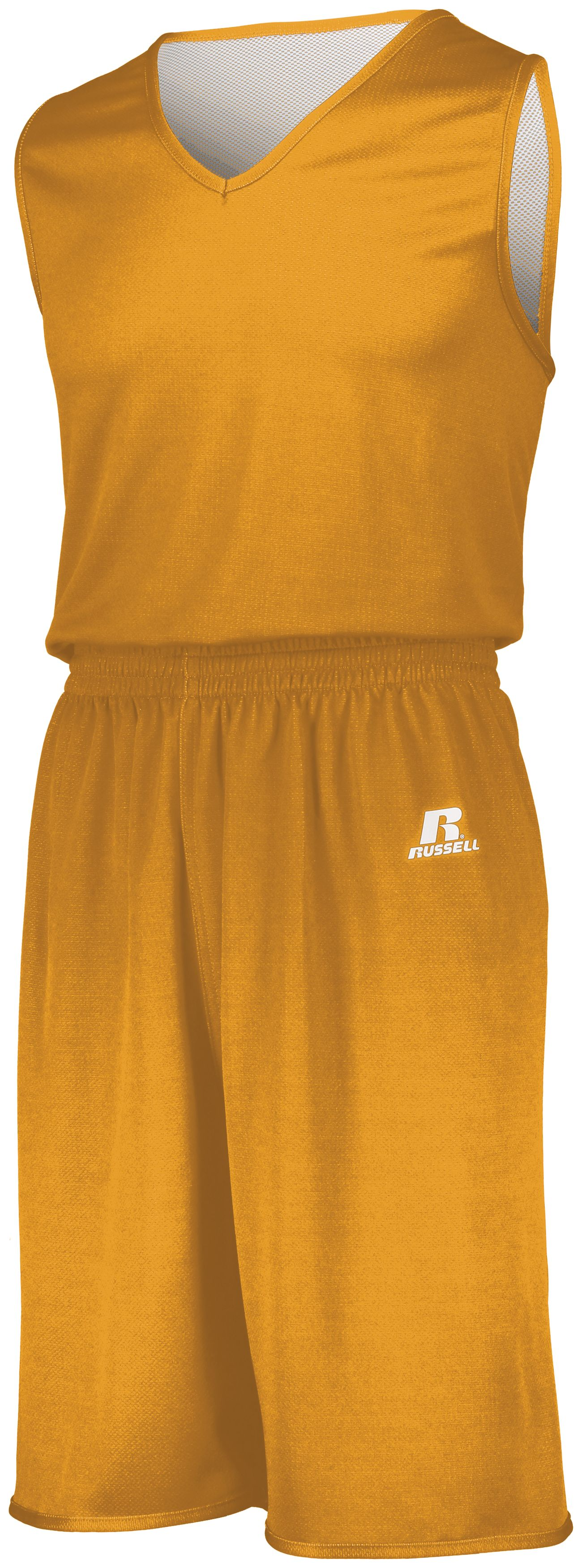 Youth Undivided Solid Single Ply Reversible Shorts - GOLD/WHITE