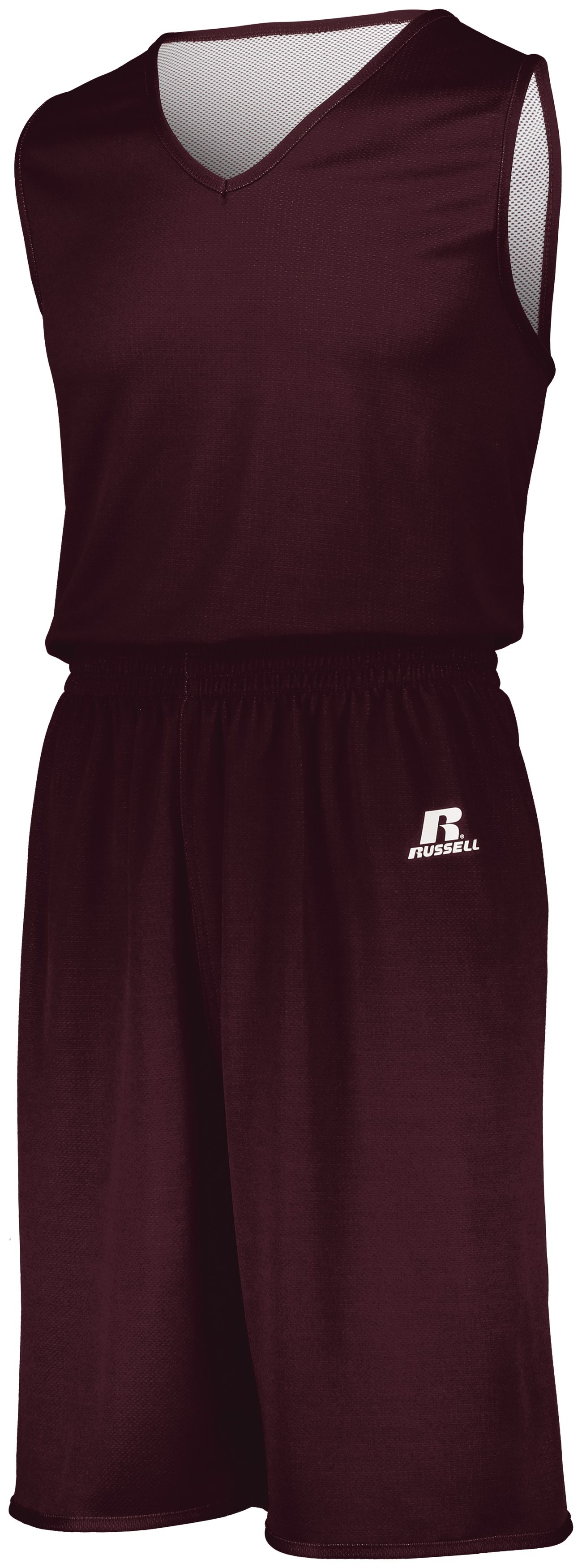 Youth Undivided Solid Single Ply Reversible Shorts - MAROON/WHITE