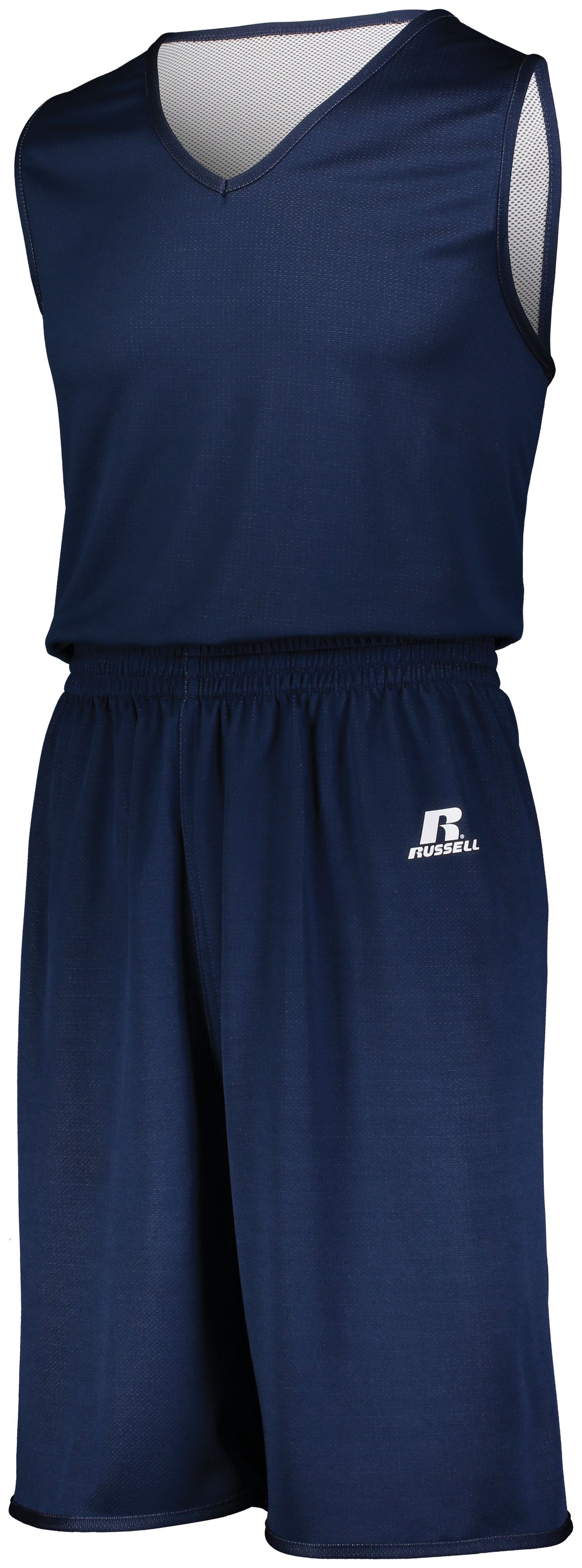 Youth Undivided Solid Single Ply Reversible Shorts - NAVY/WHITE