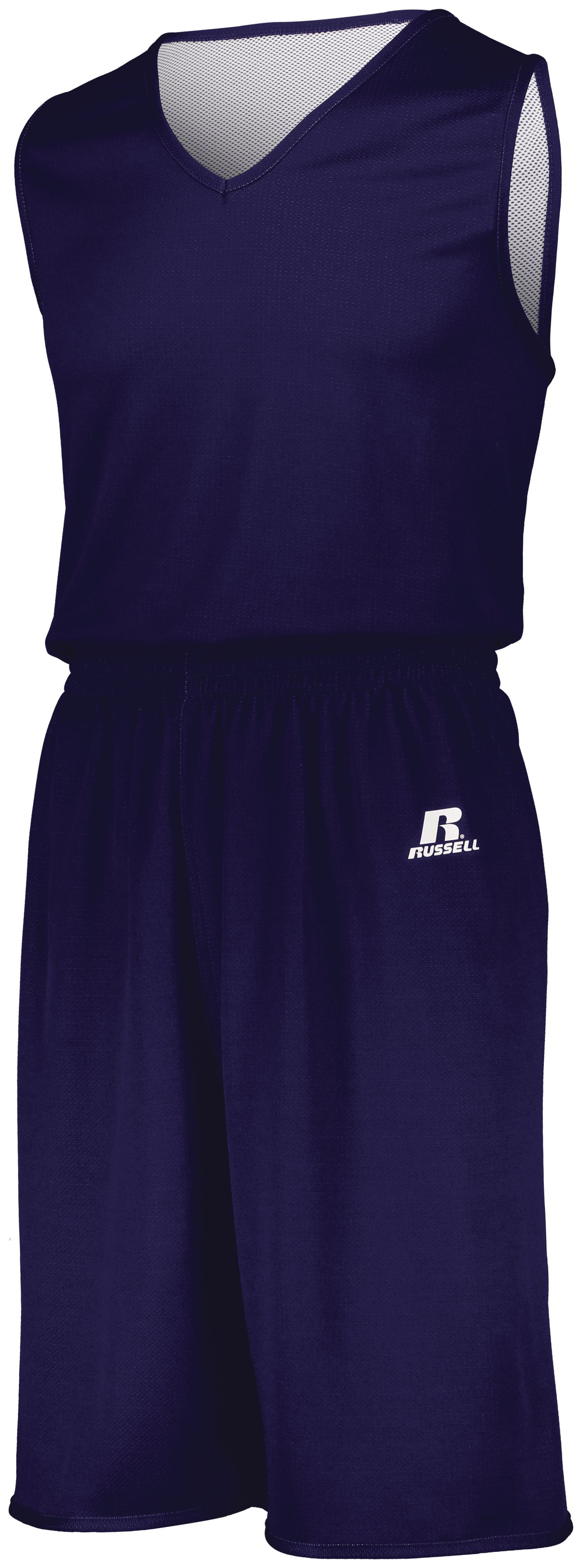 Youth Undivided Solid Single Ply Reversible Shorts - PURPLE/WHITE