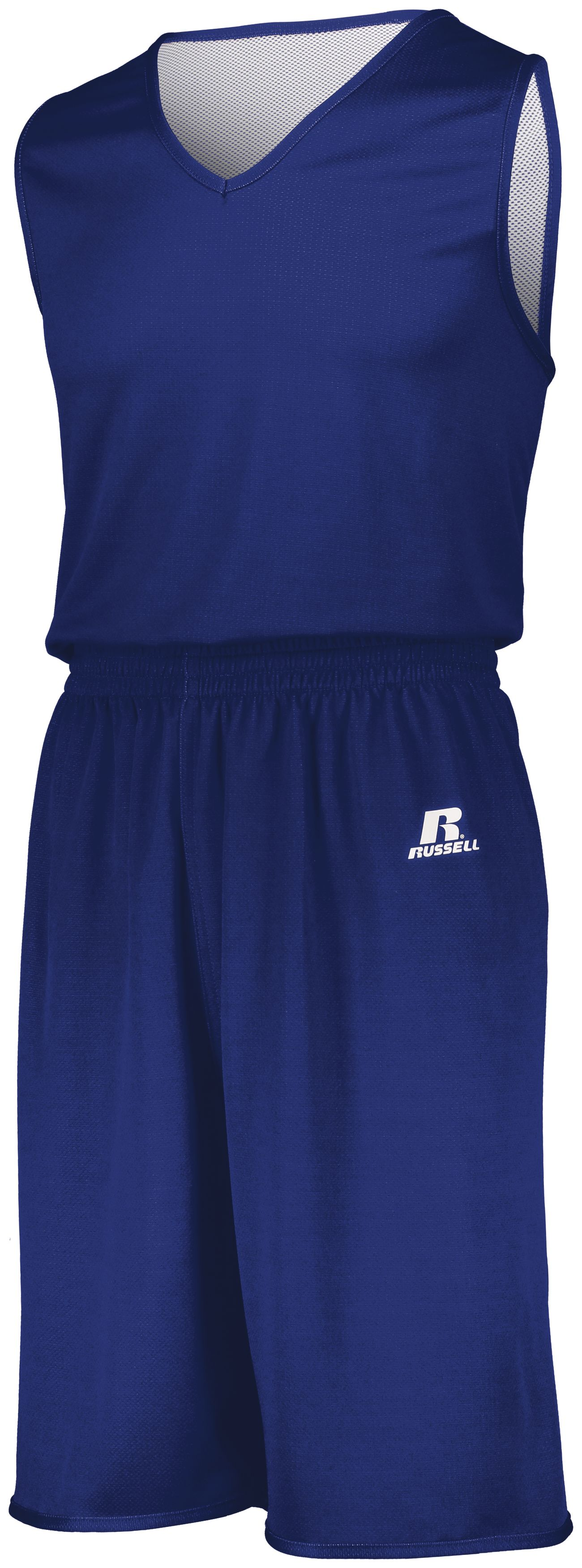 Youth Undivided Solid Single Ply Reversible Shorts - ROYAL/WHITE