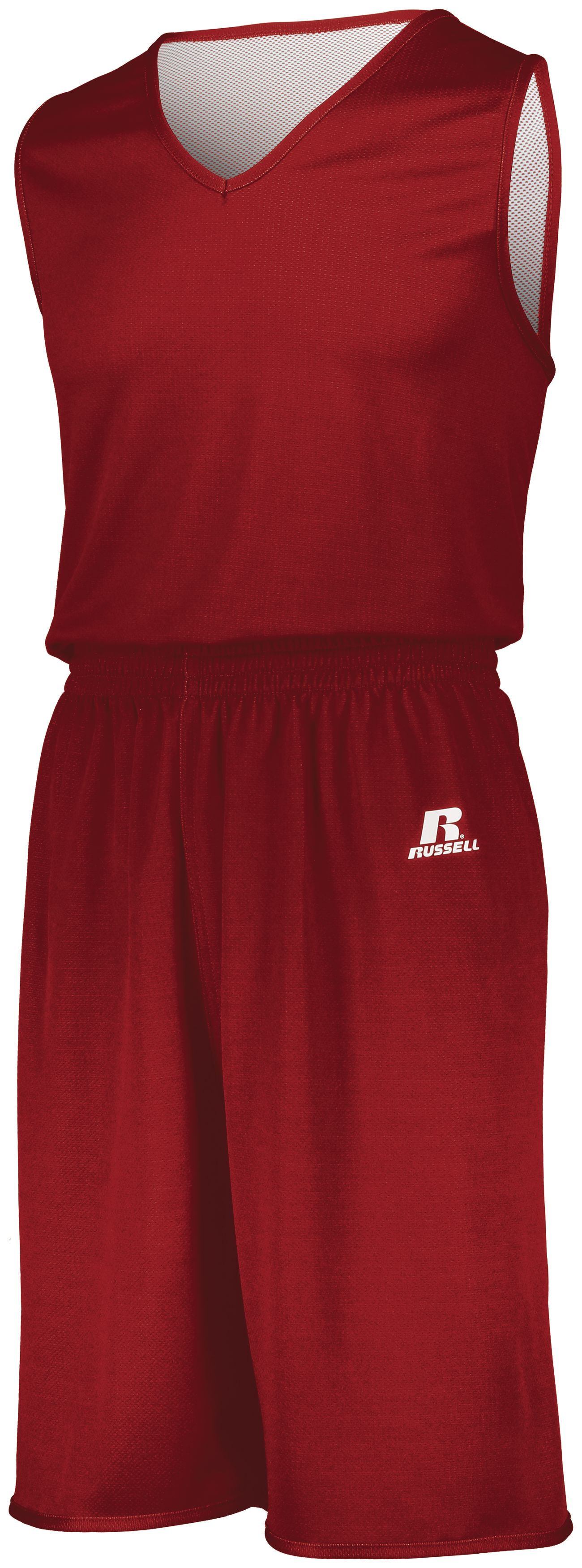 Youth Undivided Solid Single Ply Reversible Shorts - TRUE RED/WHITE