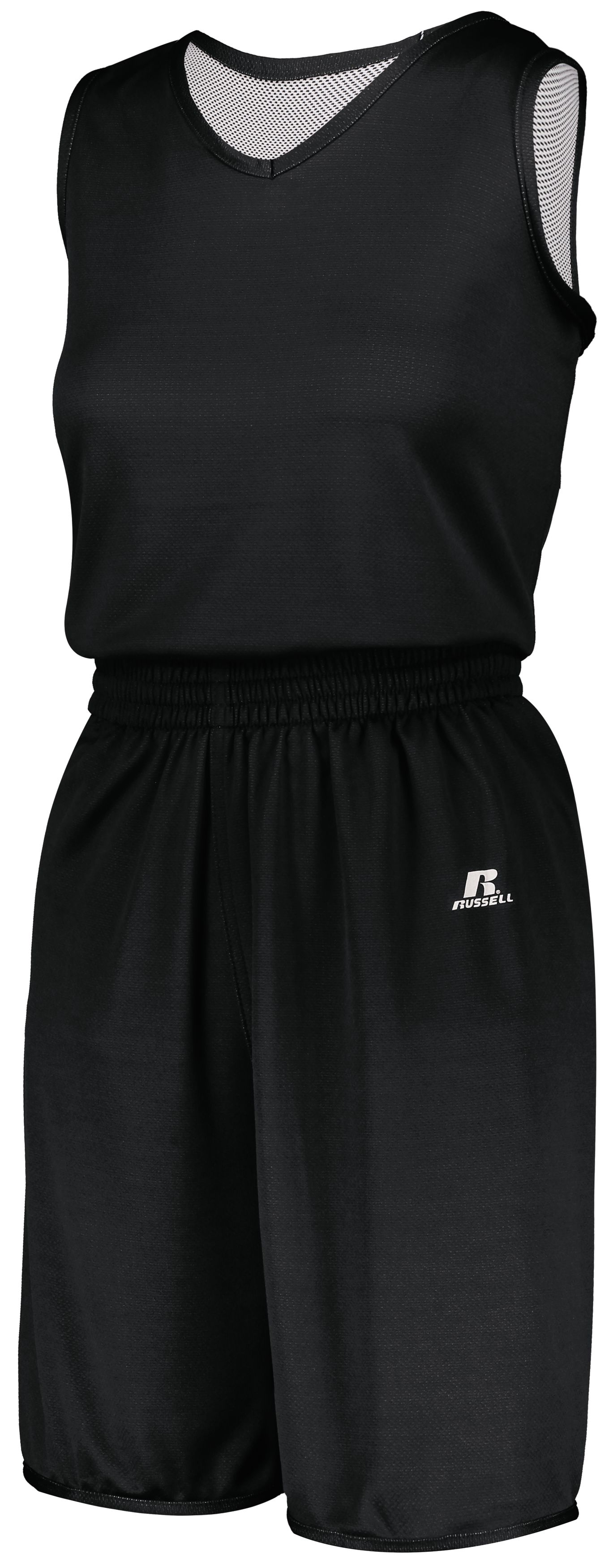 Ladies Undivided Solid Single Ply Reversible Shorts - BLACK/WHITE