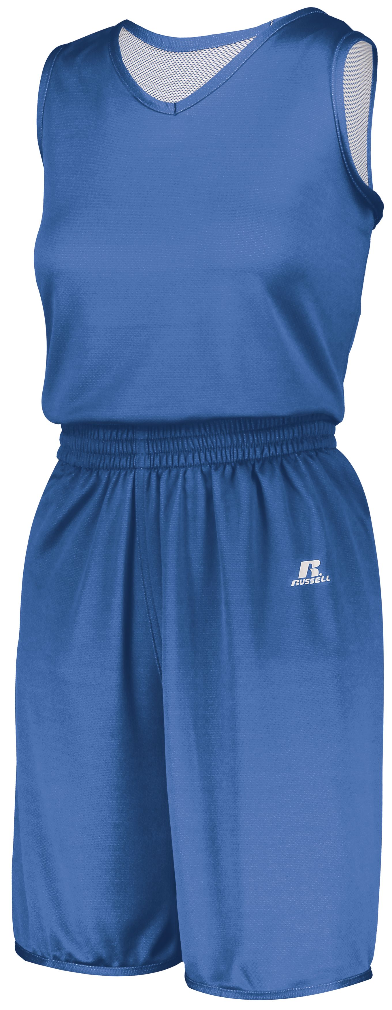 Ladies Undivided Solid Single Ply Reversible Shorts - COLUMBIA BLUE/WHITE