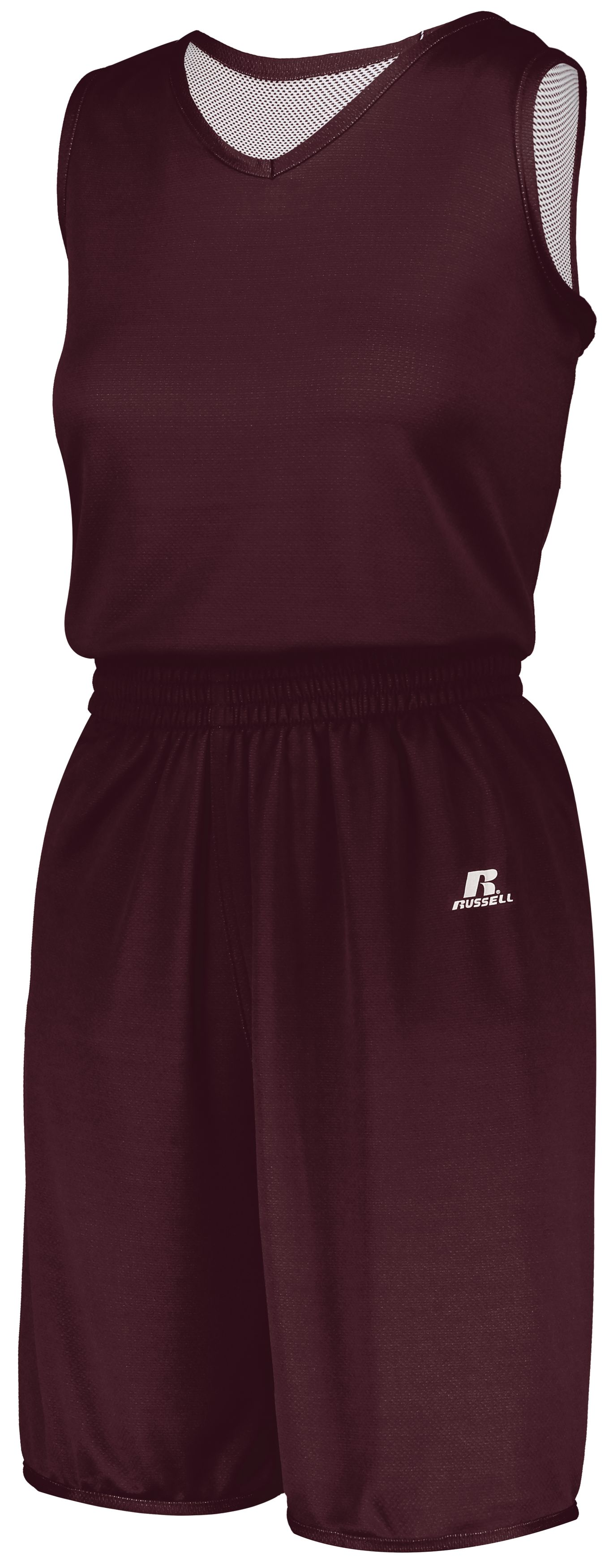 Ladies Undivided Solid Single Ply Reversible Shorts - MAROON/WHITE