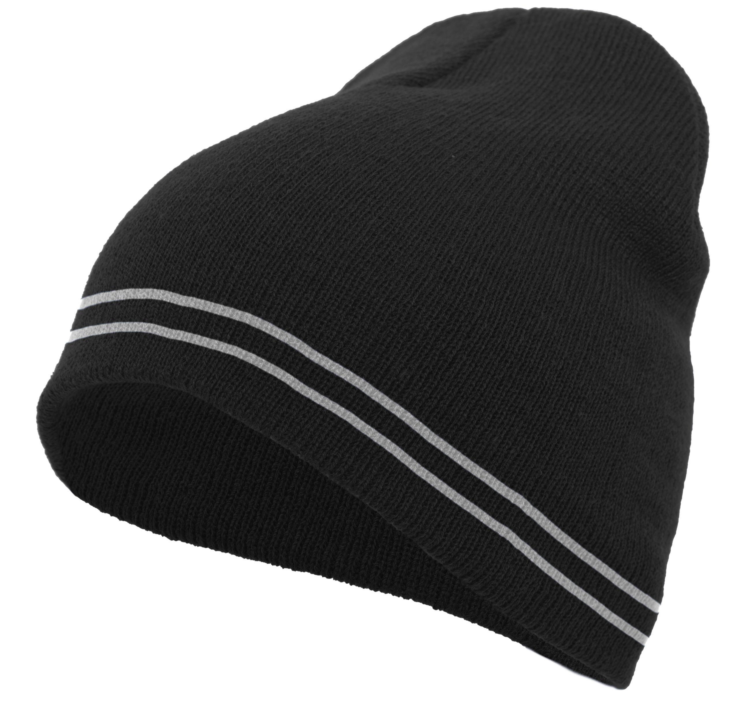 Basic Knit Beanie - BLACK/WHITE