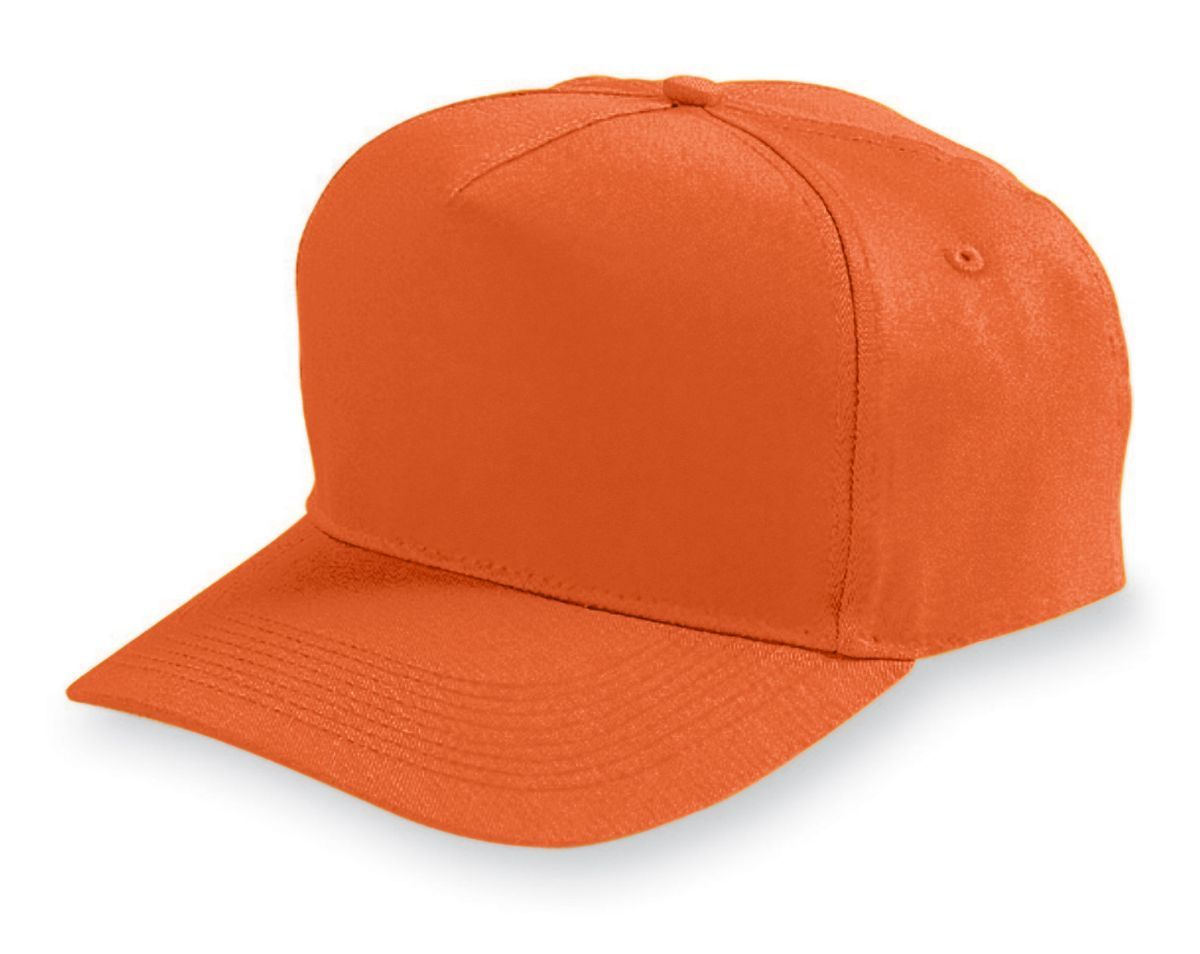 Five-Panel Cotton Twill Cap - ORANGE