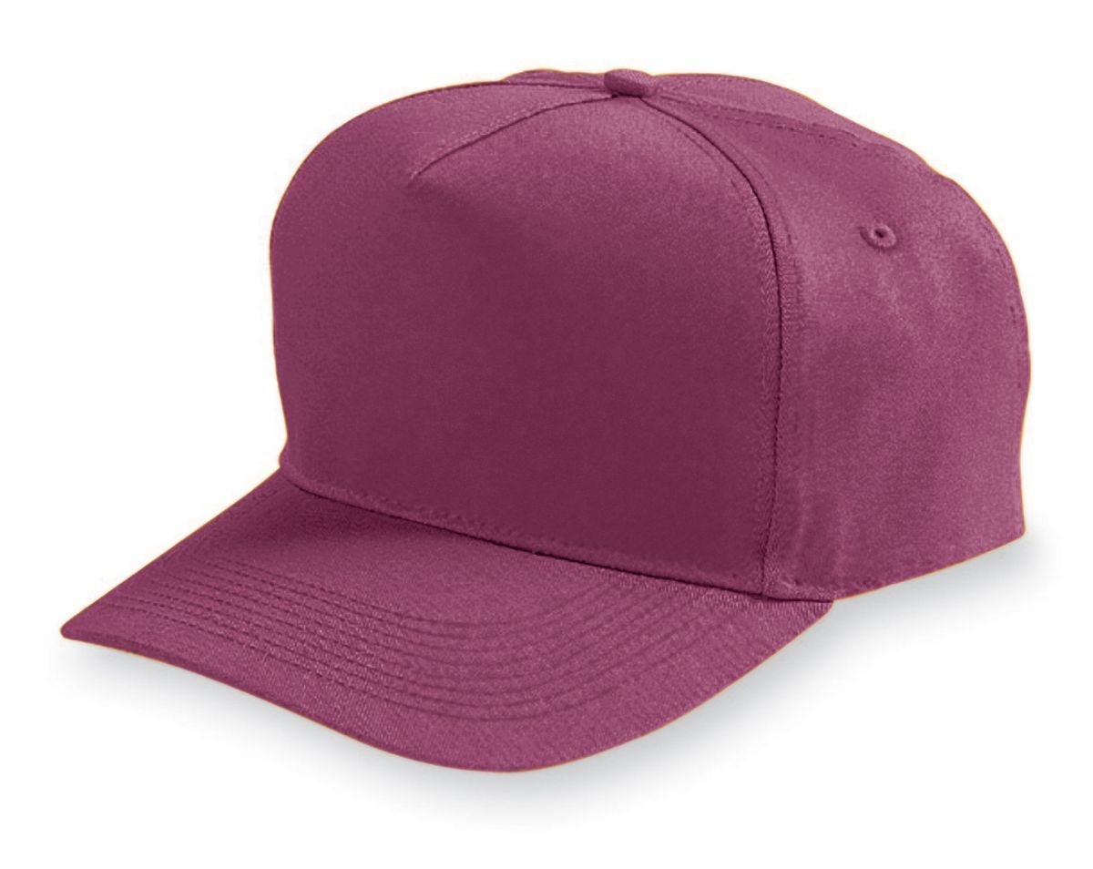 Five-Panel Cotton Twill Cap - MAROON