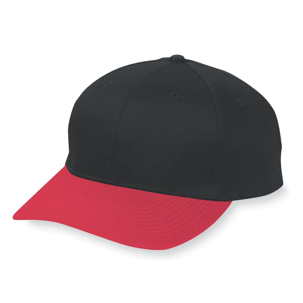 Six-Panel Cotton Twill Low-Profile Cap - BLACK/RED
