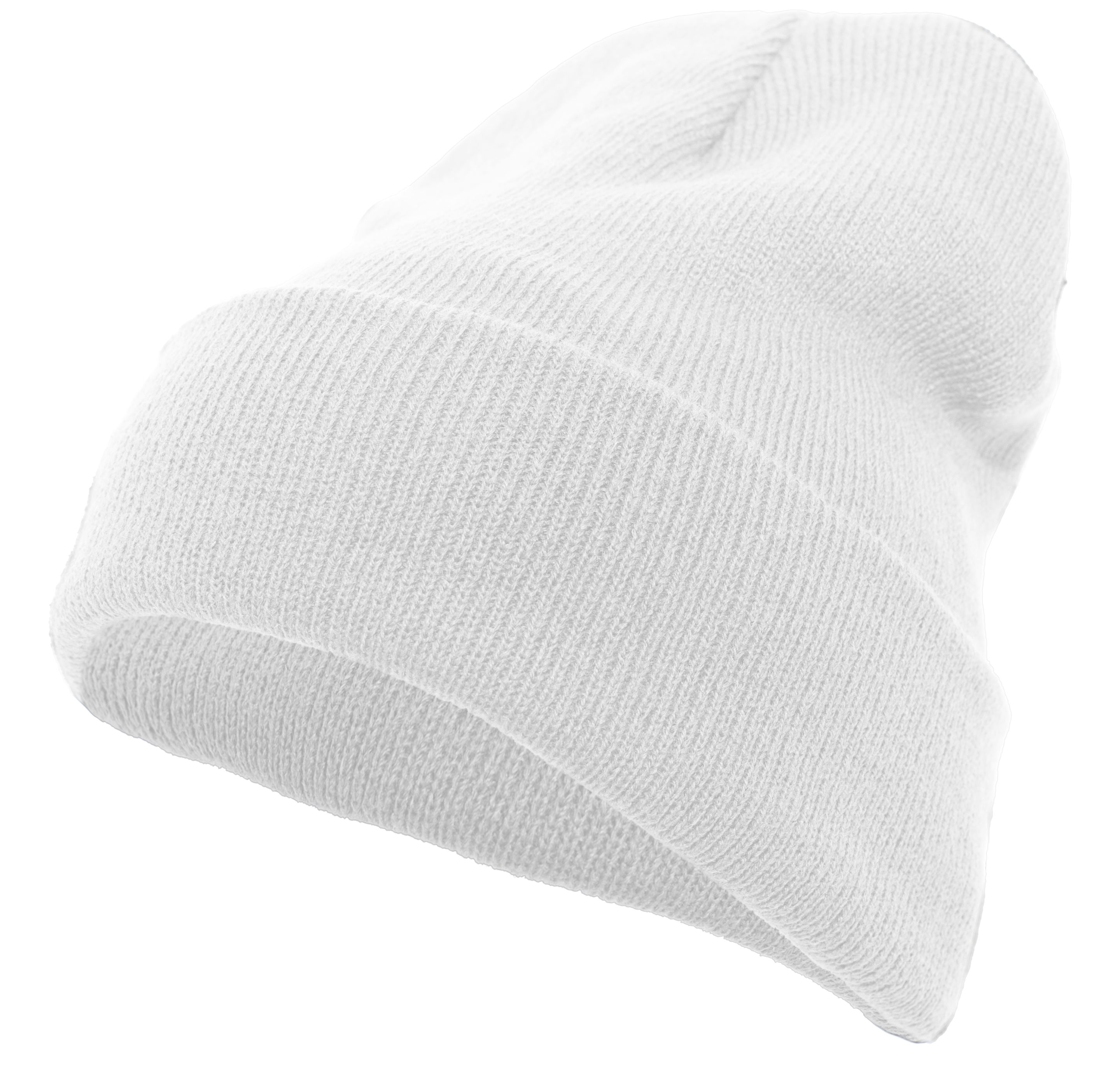 Knit Fold Over Beanie - WHITE