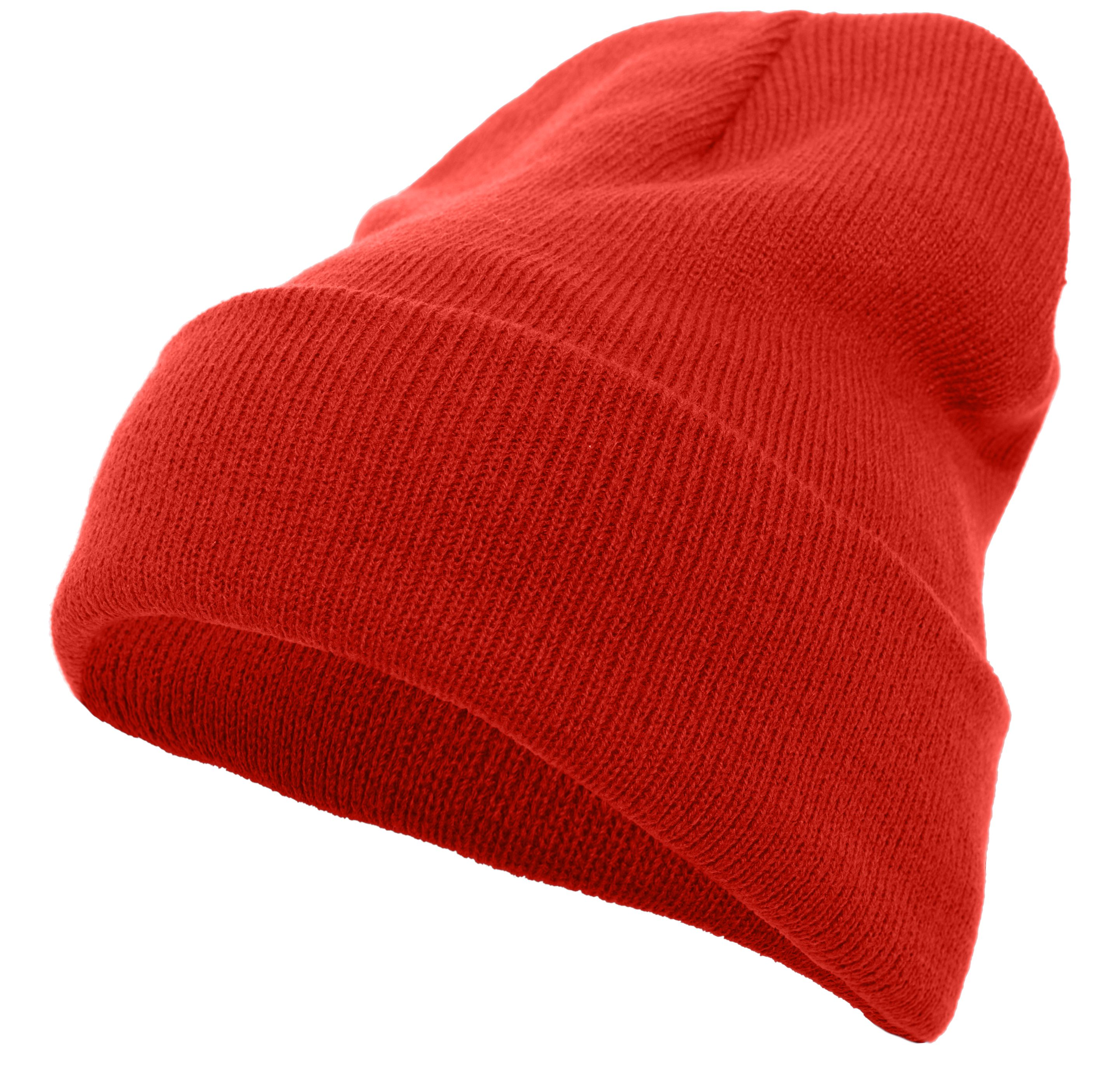 Knit Fold Over Beanie - RED