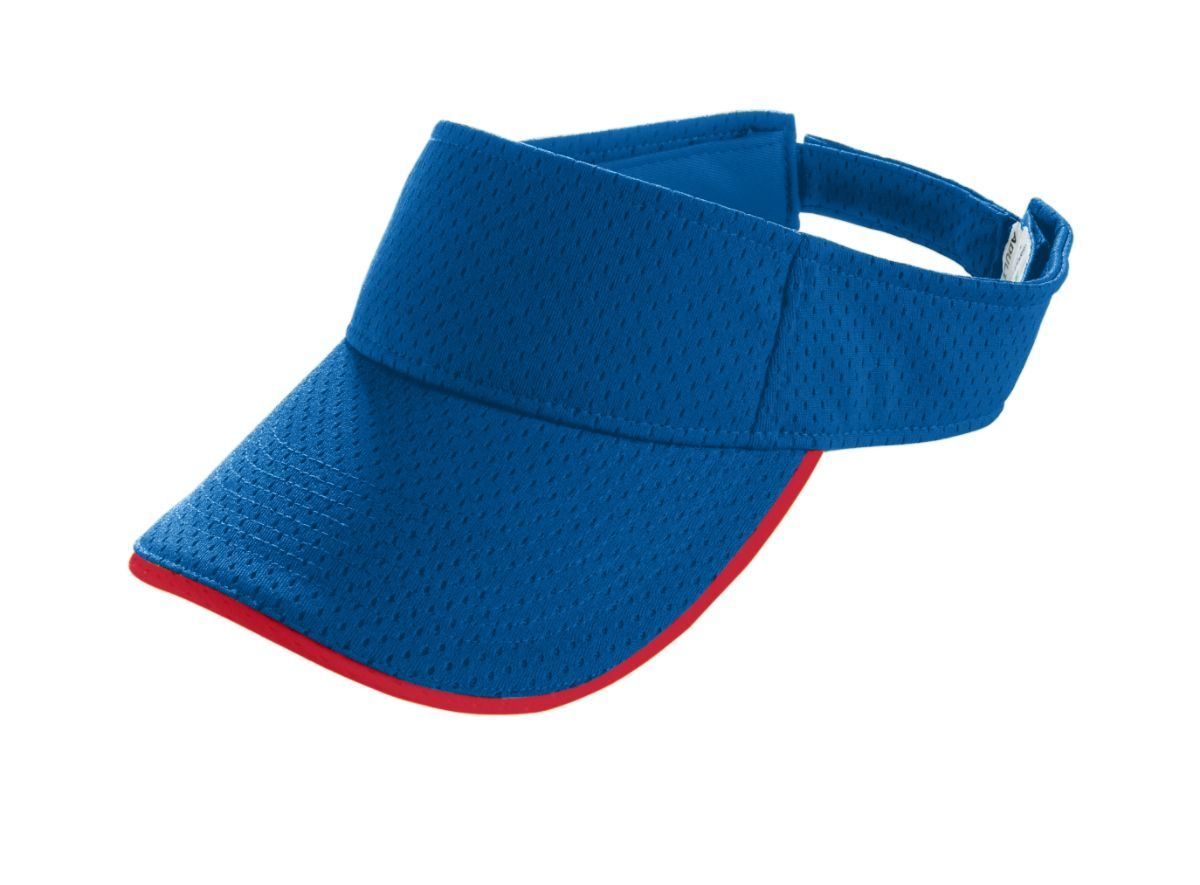 Youth Athletic Mesh Two-Color Visor - ROYAL/RED