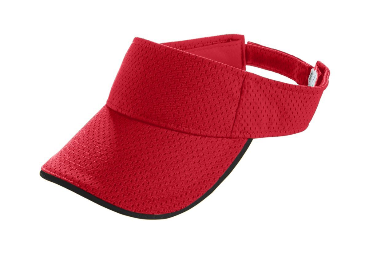Youth Athletic Mesh Two-Color Visor - RED/BLACK