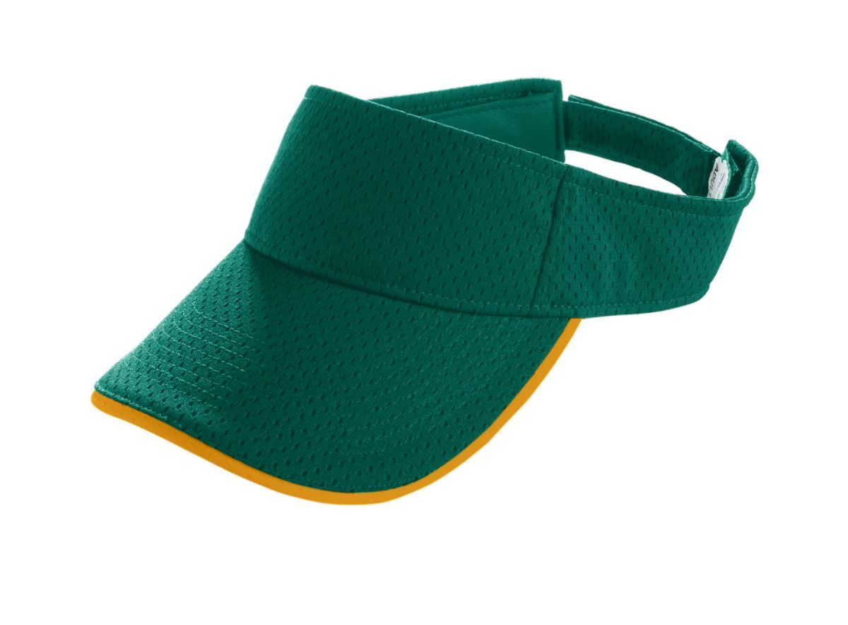 Youth Athletic Mesh Two-Color Visor - DARK GREEN/GOLD