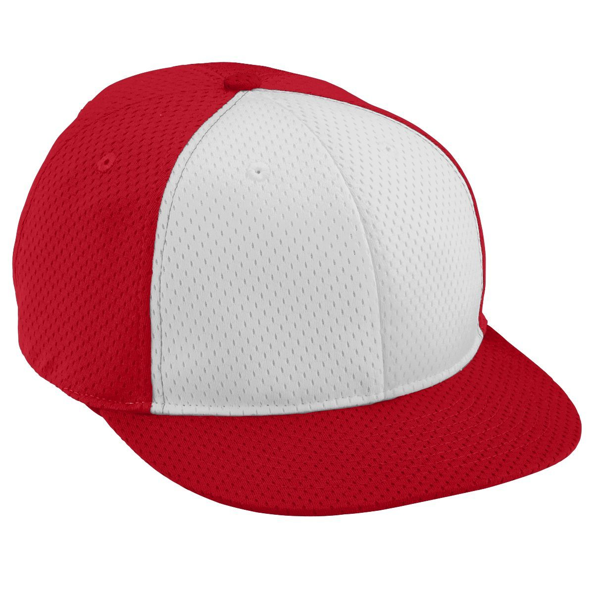 Adult Athletic Mesh Flat Bill Cap - RED/WHITE/RED