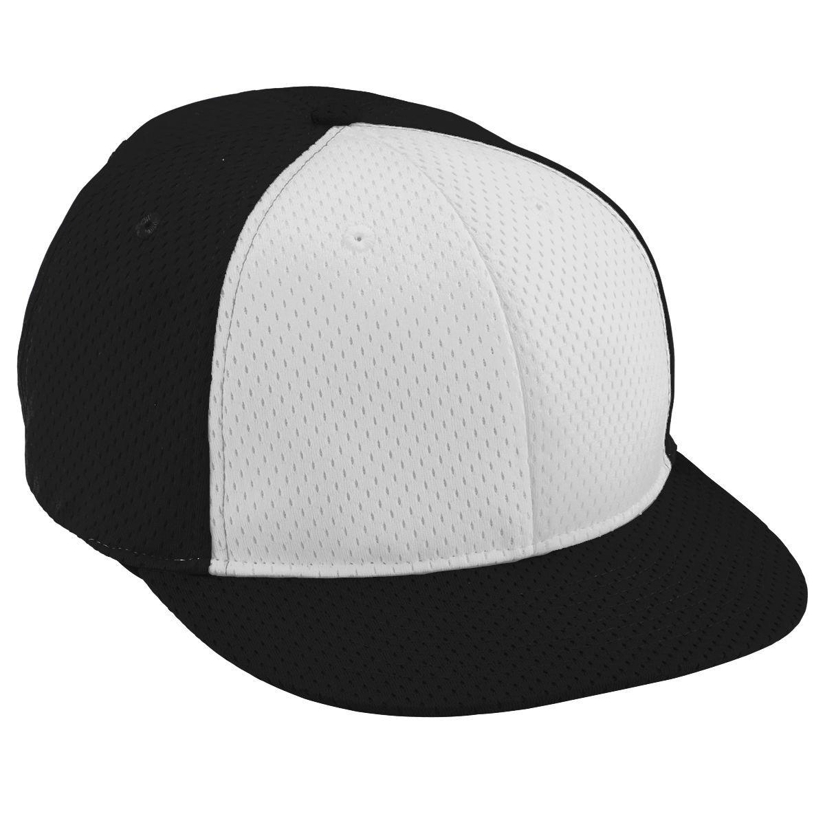 Adult Athletic Mesh Flat Bill Cap - BLACK/WHITE/BLACK
