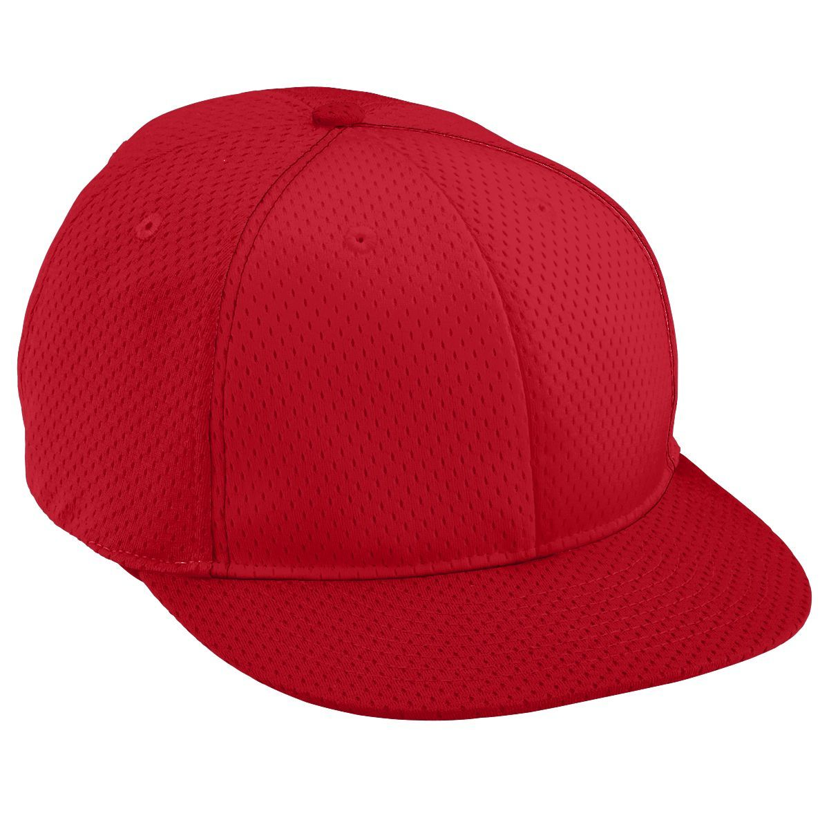 Adult Athletic Mesh Flat Bill Cap - RED/RED/RED