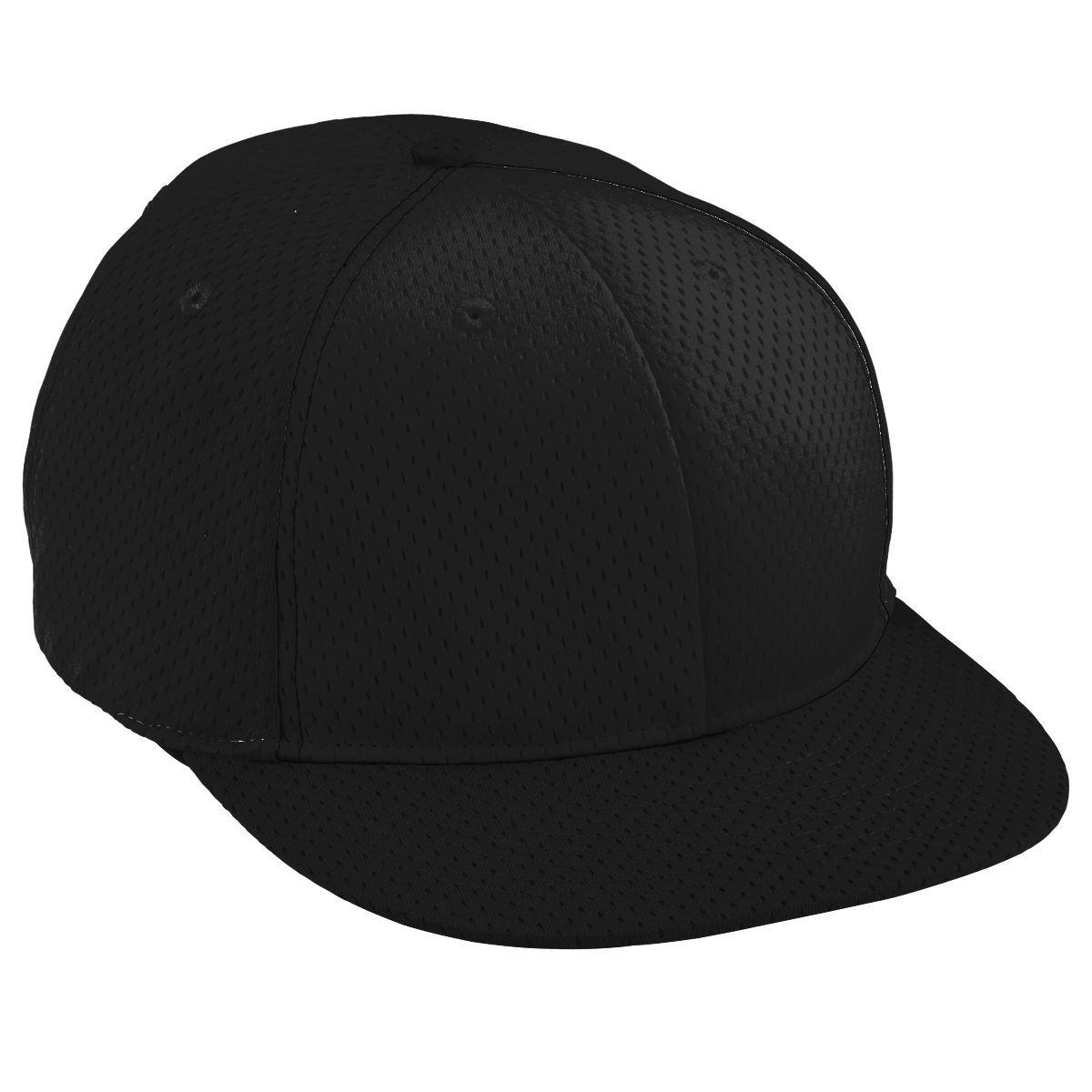 Adult Athletic Mesh Flat Bill Cap - BLACK/BLACK/BLACK