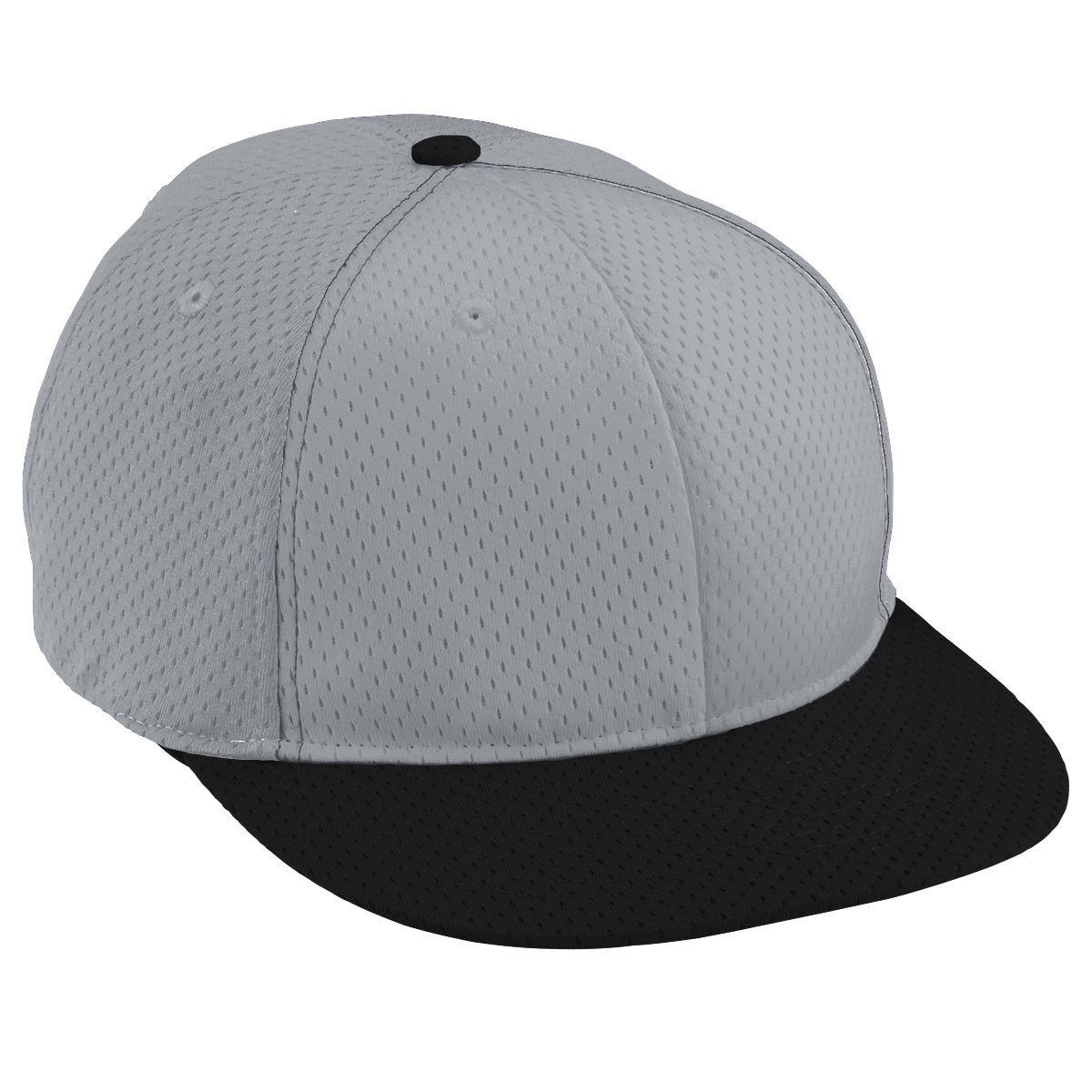 Adult Athletic Mesh Flat Bill Cap - SILVER GREY/SILVER GREY/BLACK