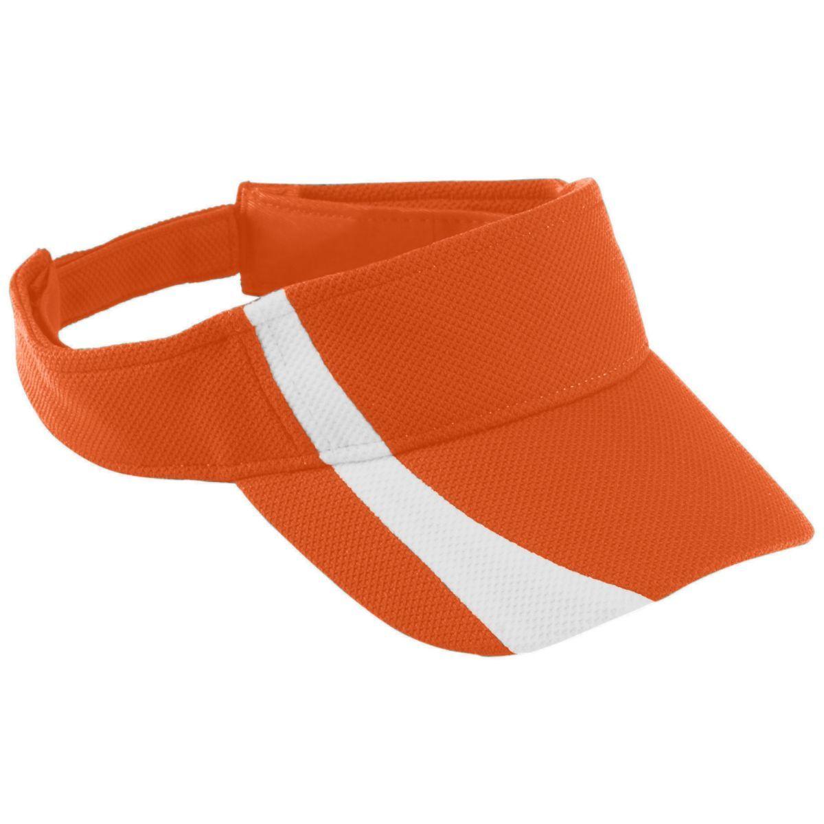 Youth Adjustable Wicking Mesh Two-Color Visor - ORANGE/WHITE