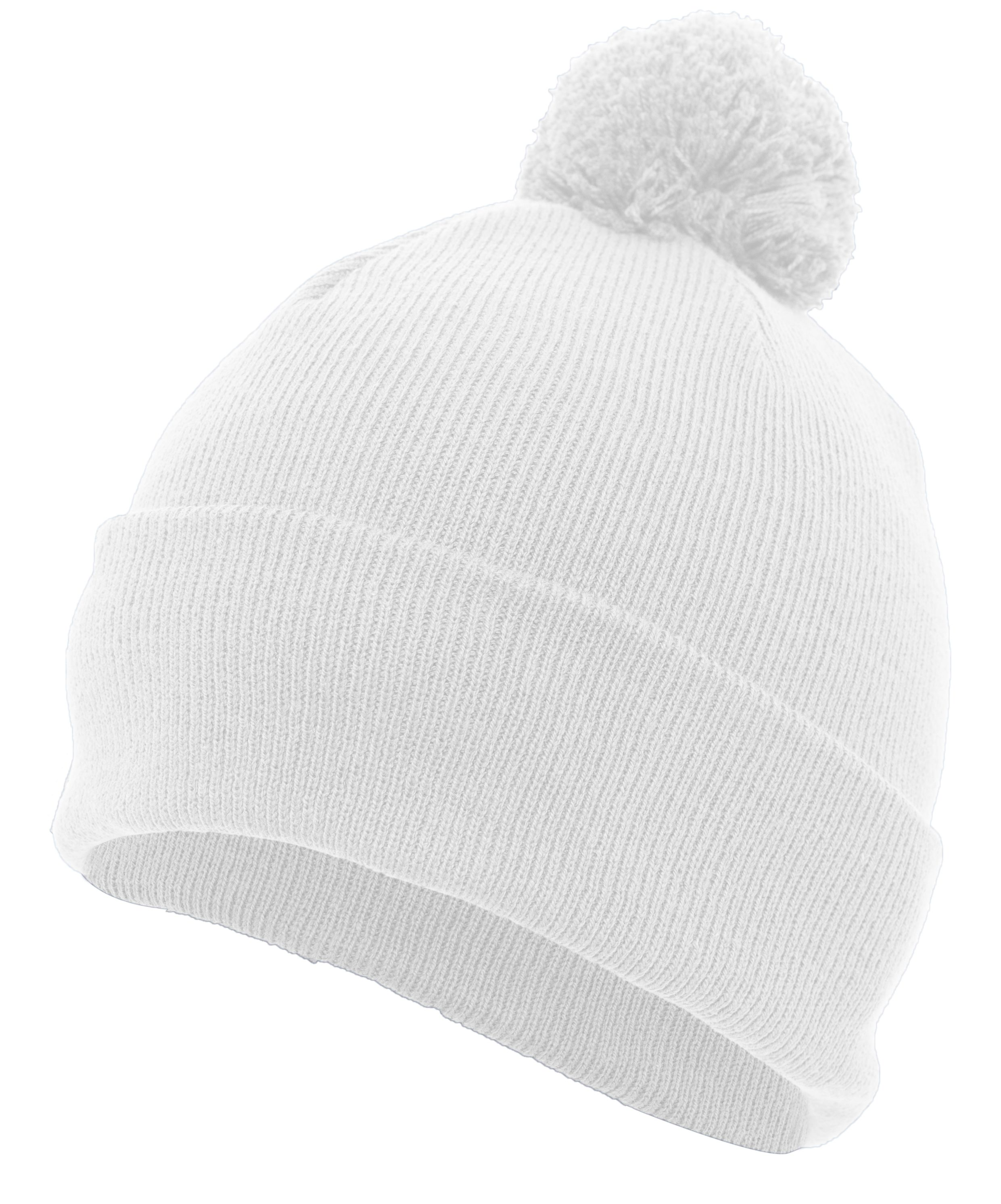 Knit Fold Over Pom-Pom Beanie - WHITE