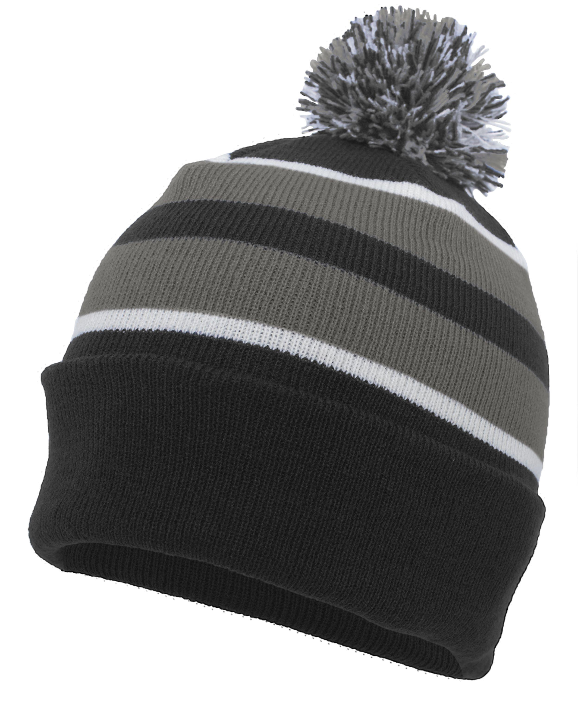 Knit Fold Over Pom-Pom Beanie - BLACK/GRAPHITE/WHITE