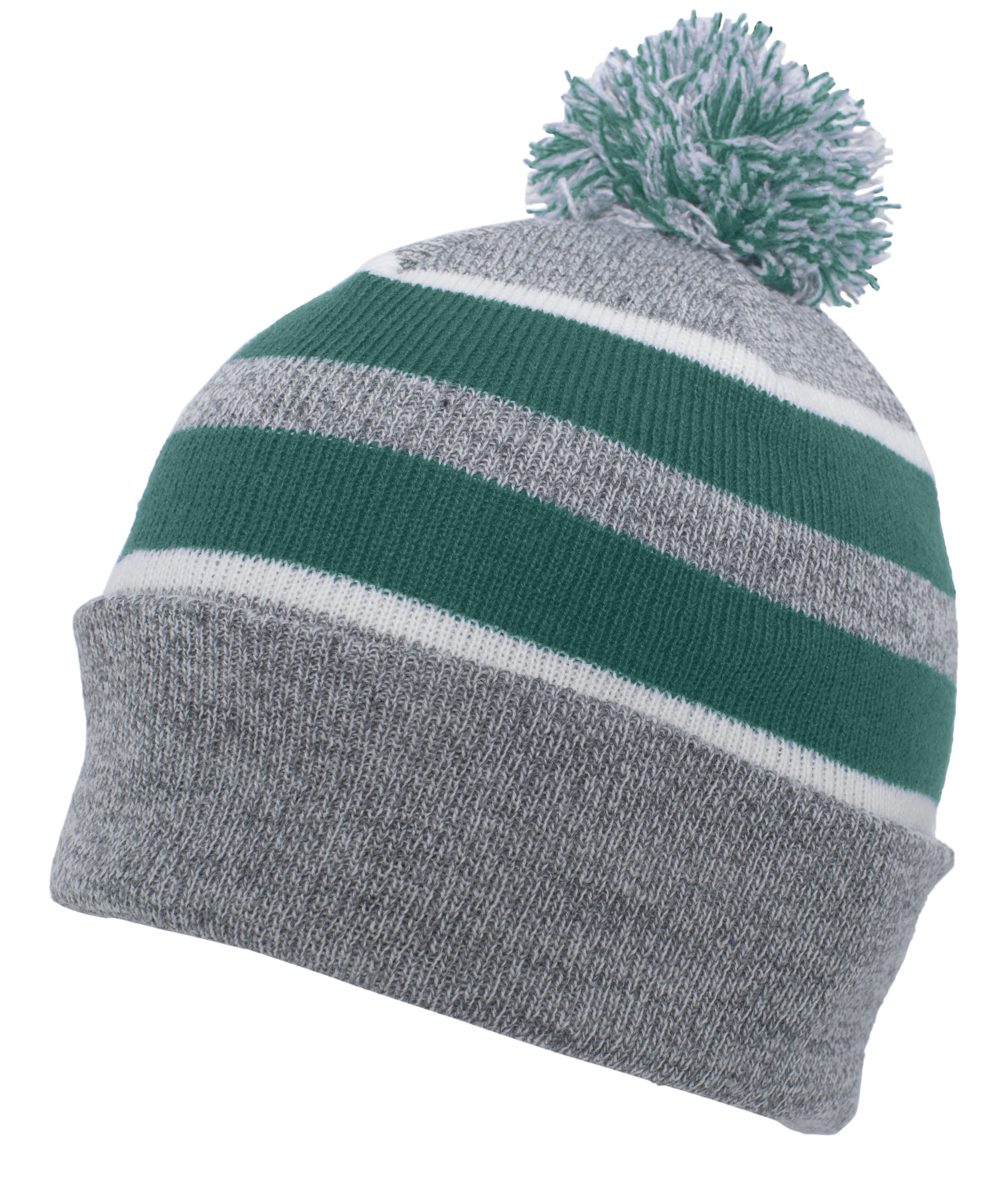 Knit Fold Over Pom-Pom Beanie - HEATHER/KELLY/WHITE