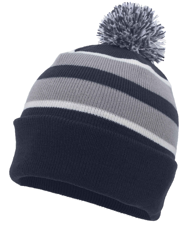 Knit Fold Over Pom-Pom Beanie - NAVY/SILVER/WHITE