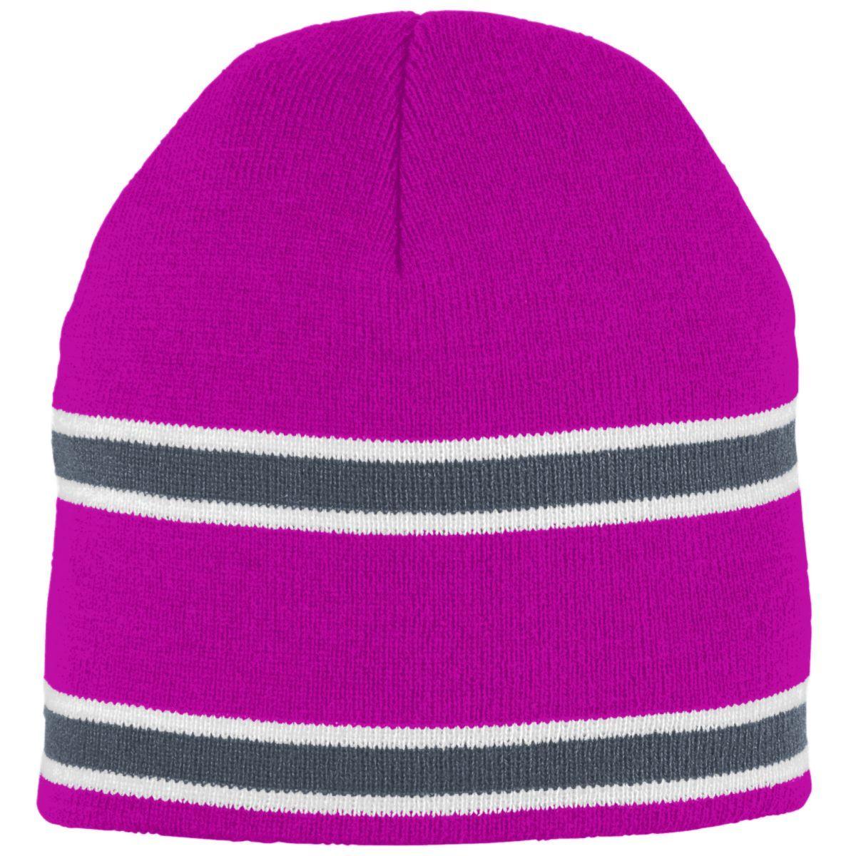 Striped Knit Beanie - POWER PINK/GRAPHITE/WHITE
