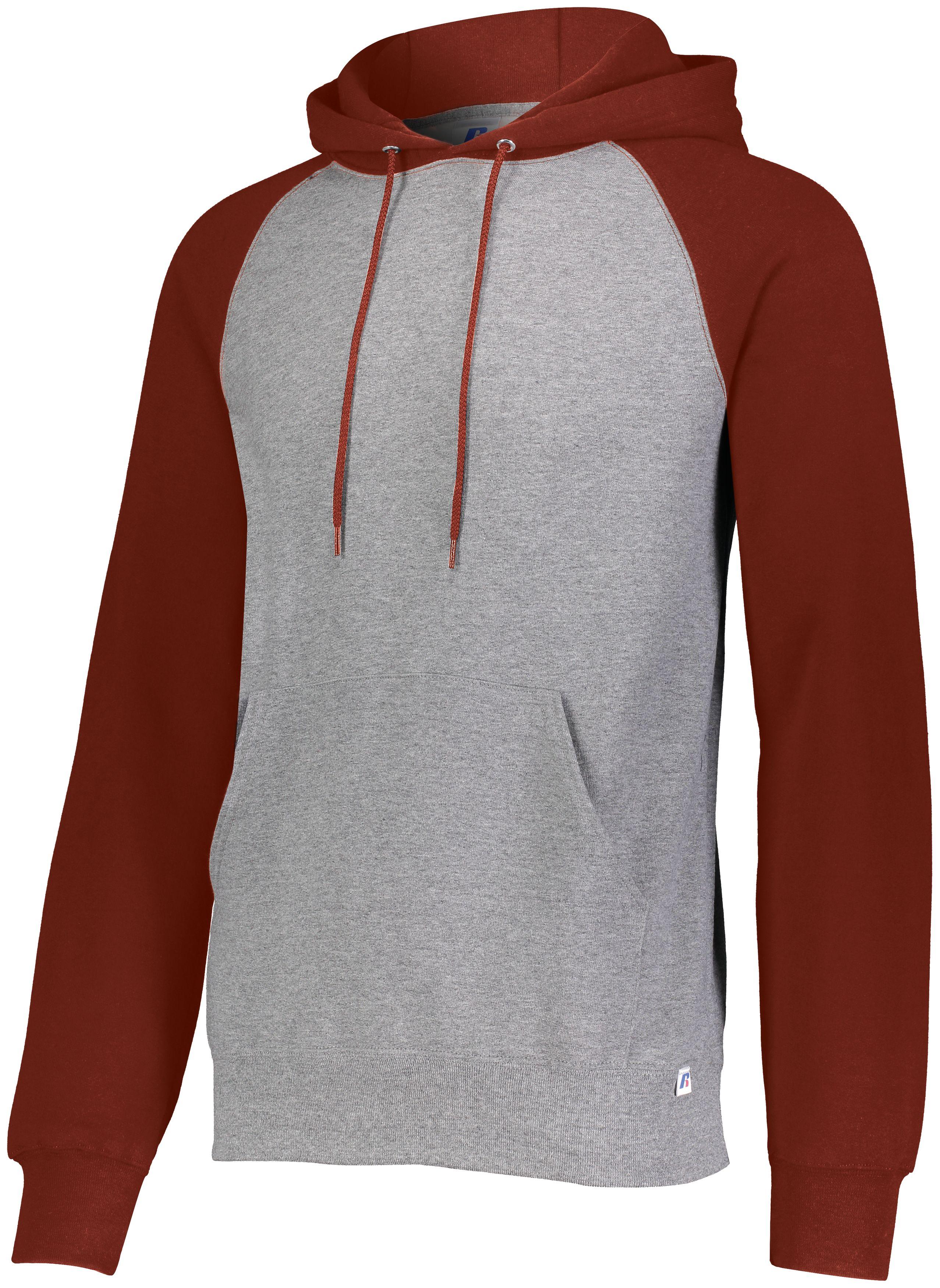 Dri-Power®  Fleece Colorblock Hoodie - Oxford/true Red