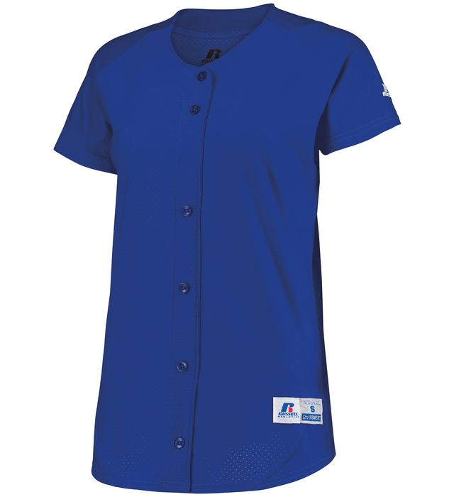 Ladies Stretch Faux Button Jersey