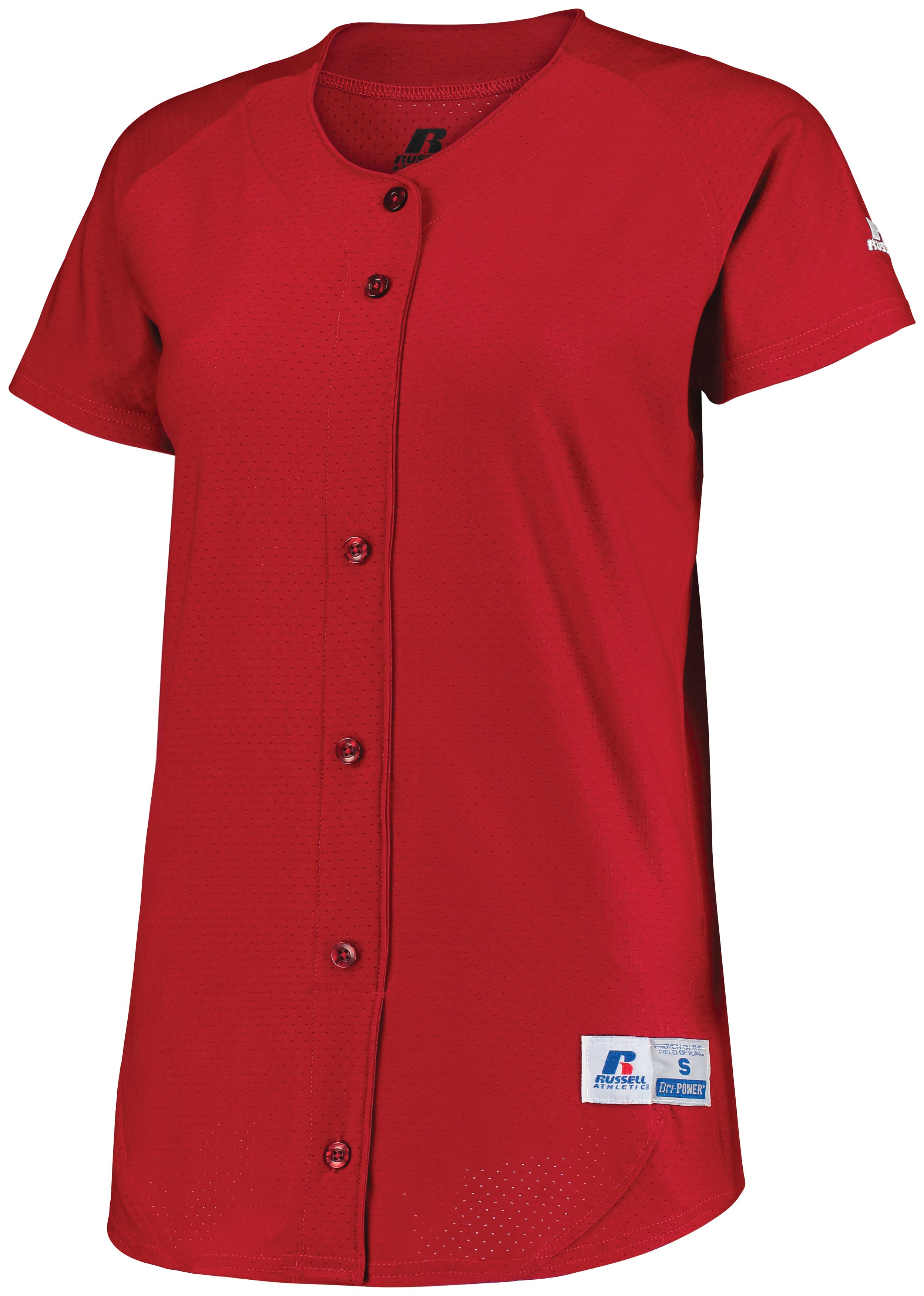 Ladies Stretch Faux Button Jersey - True Red