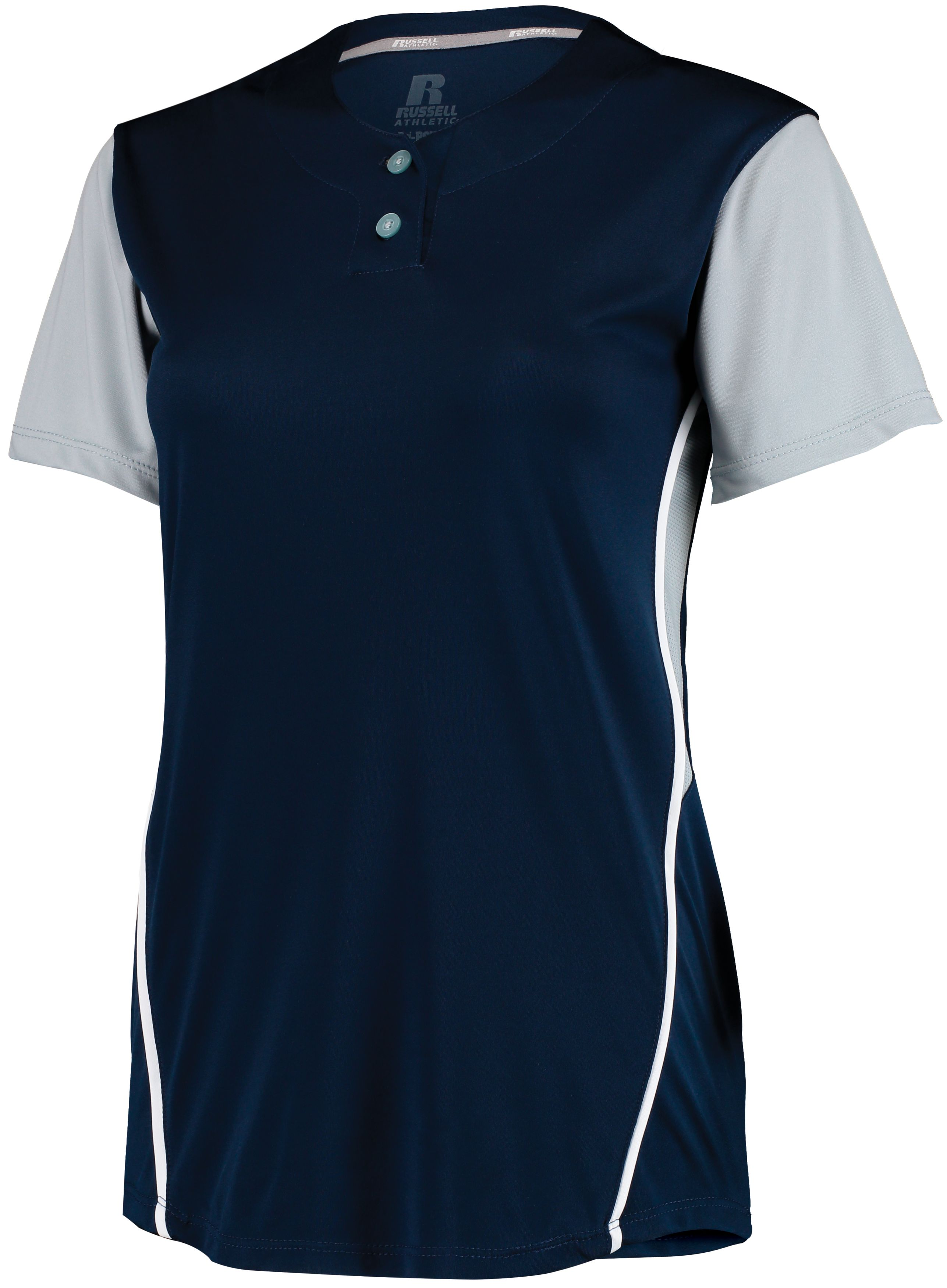 Ladies Performance Two-Button Color Block Jersey - Navy/baseball Grey