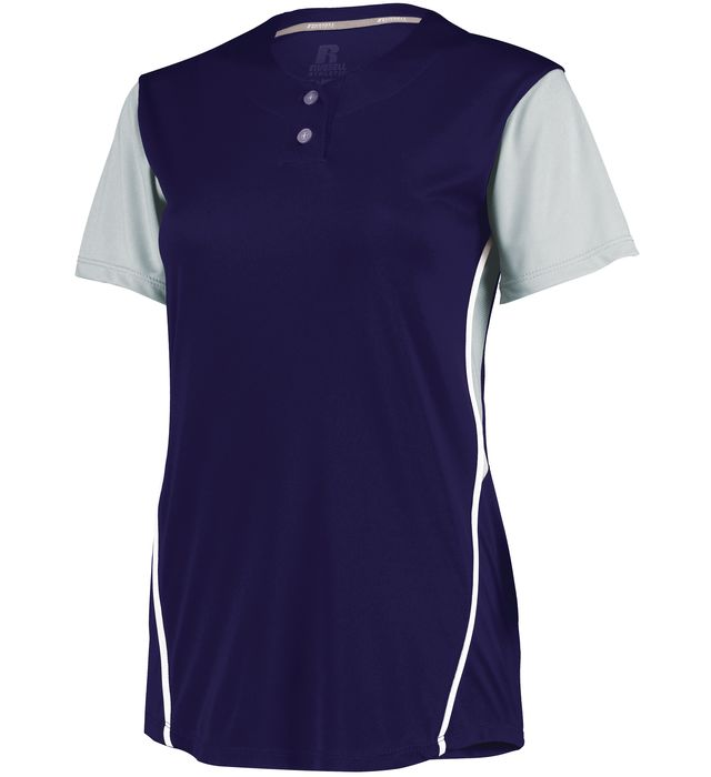 Ladies Performance Two-Button Color Block Jersey