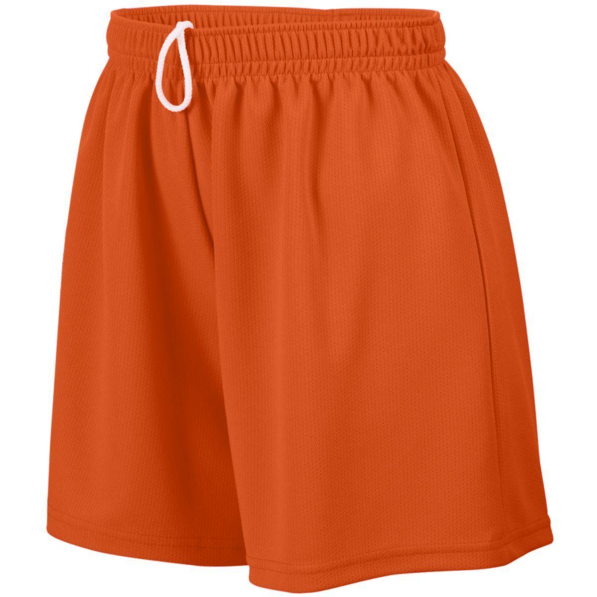 Ladies Wicking Mesh Shorts - ORANGE