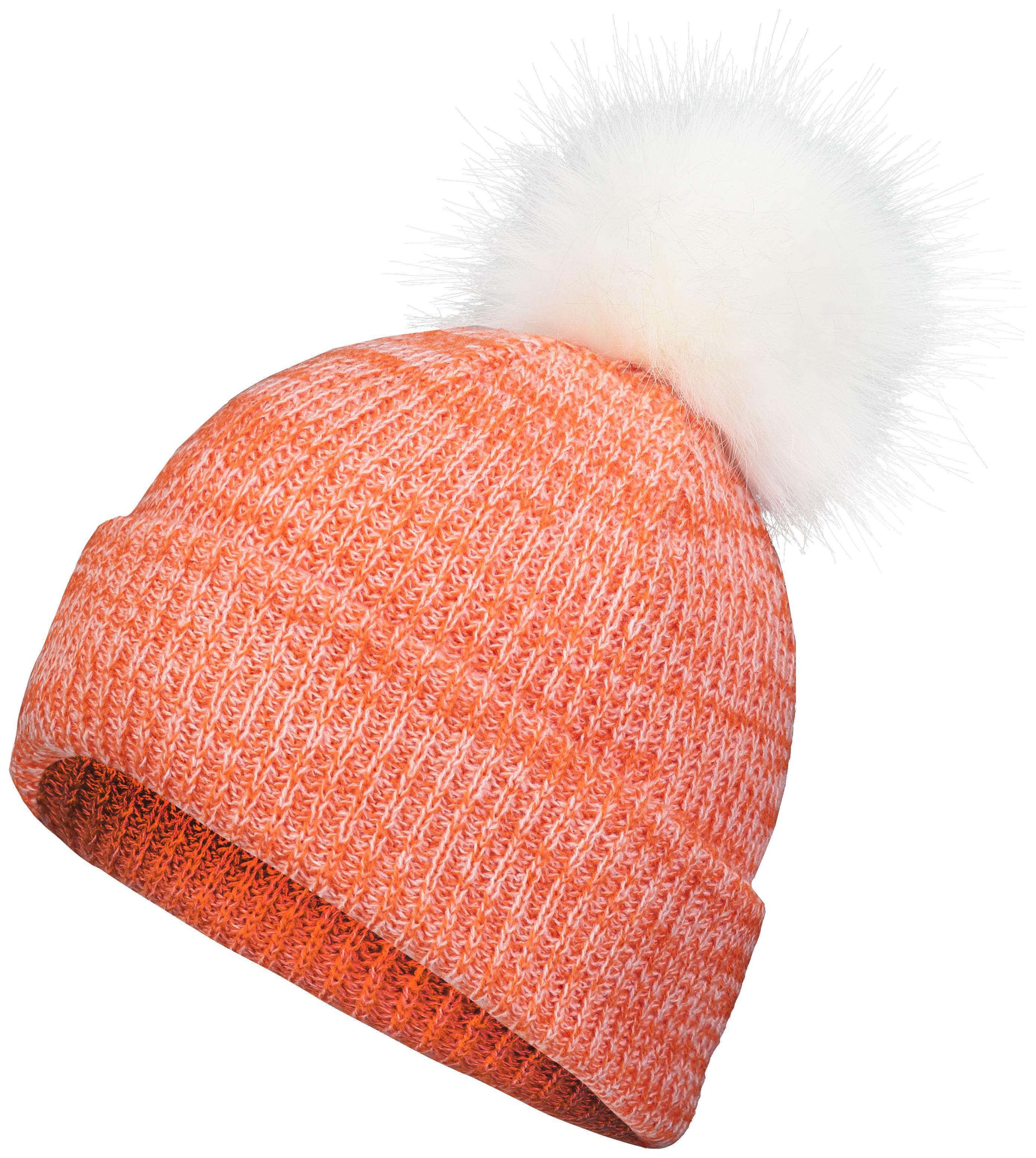Faux Fur Pom Beanie - ORANGE/WHITE